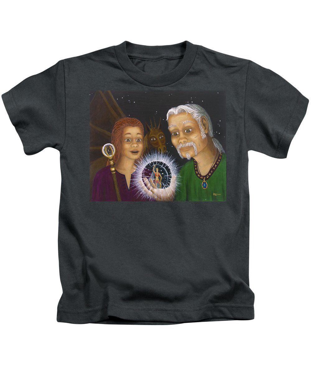 Fantasy Kids T-Shirt featuring the painting Crystal Ball by Roz Eve
