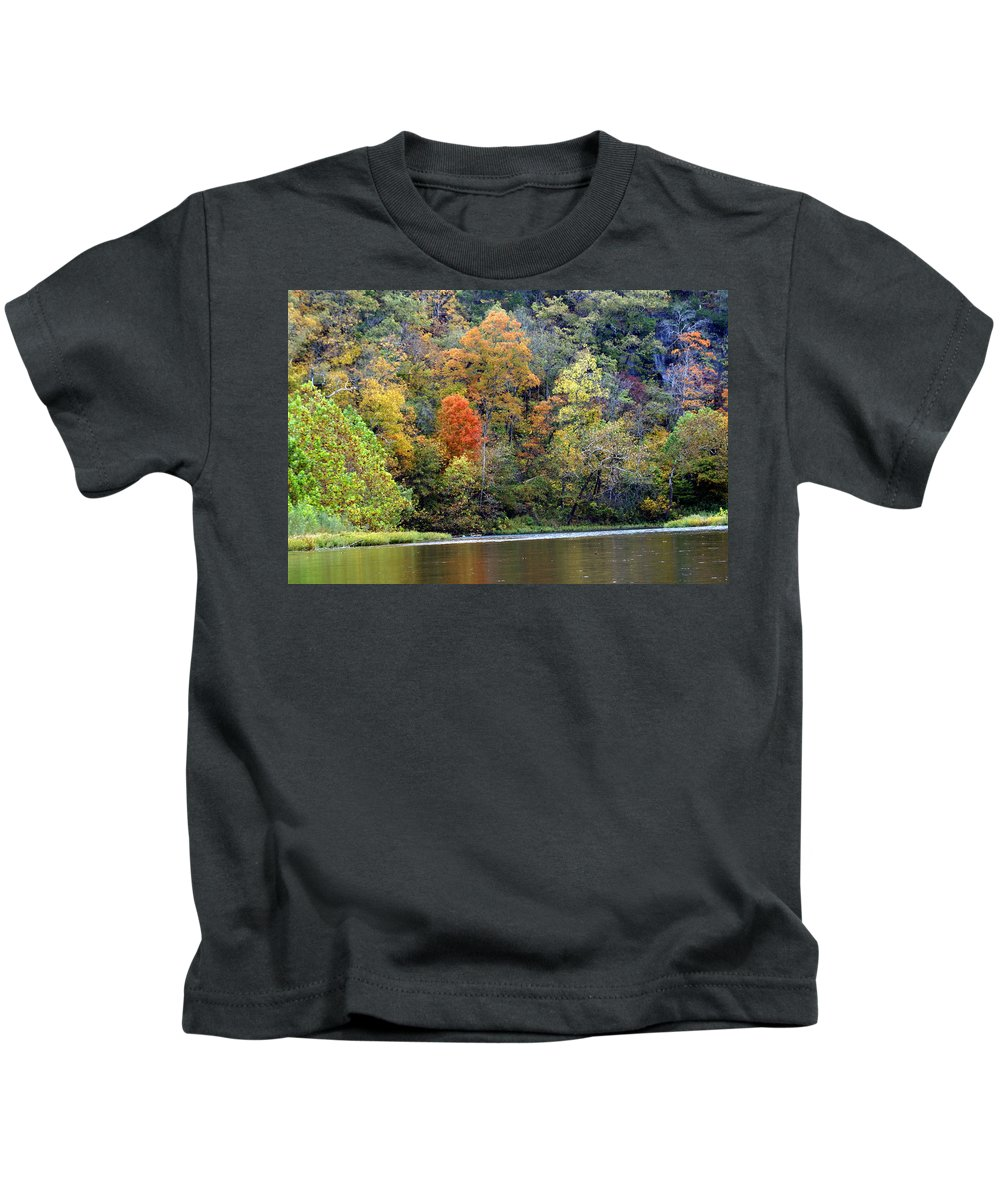 Rivers Kids T-Shirt featuring the photograph Current River Fall by Marty Koch