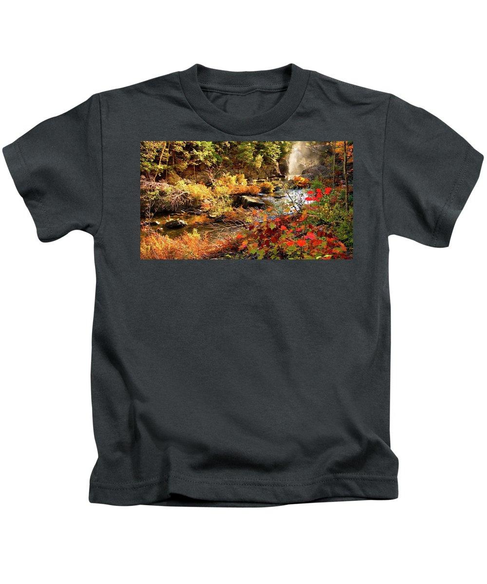 Dead River Falls Kids T-Shirt featuring the photograph Dead River Falls Marquette Michigan by Michael Bessler