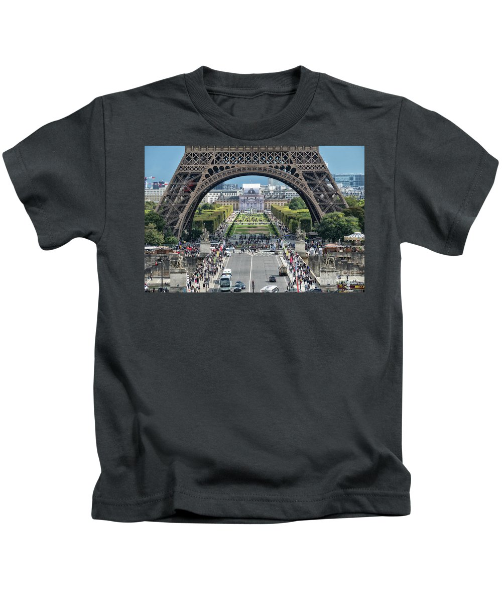 Paris Kids T-Shirt featuring the photograph Eiffel Tower Paris by Lynn Bolt