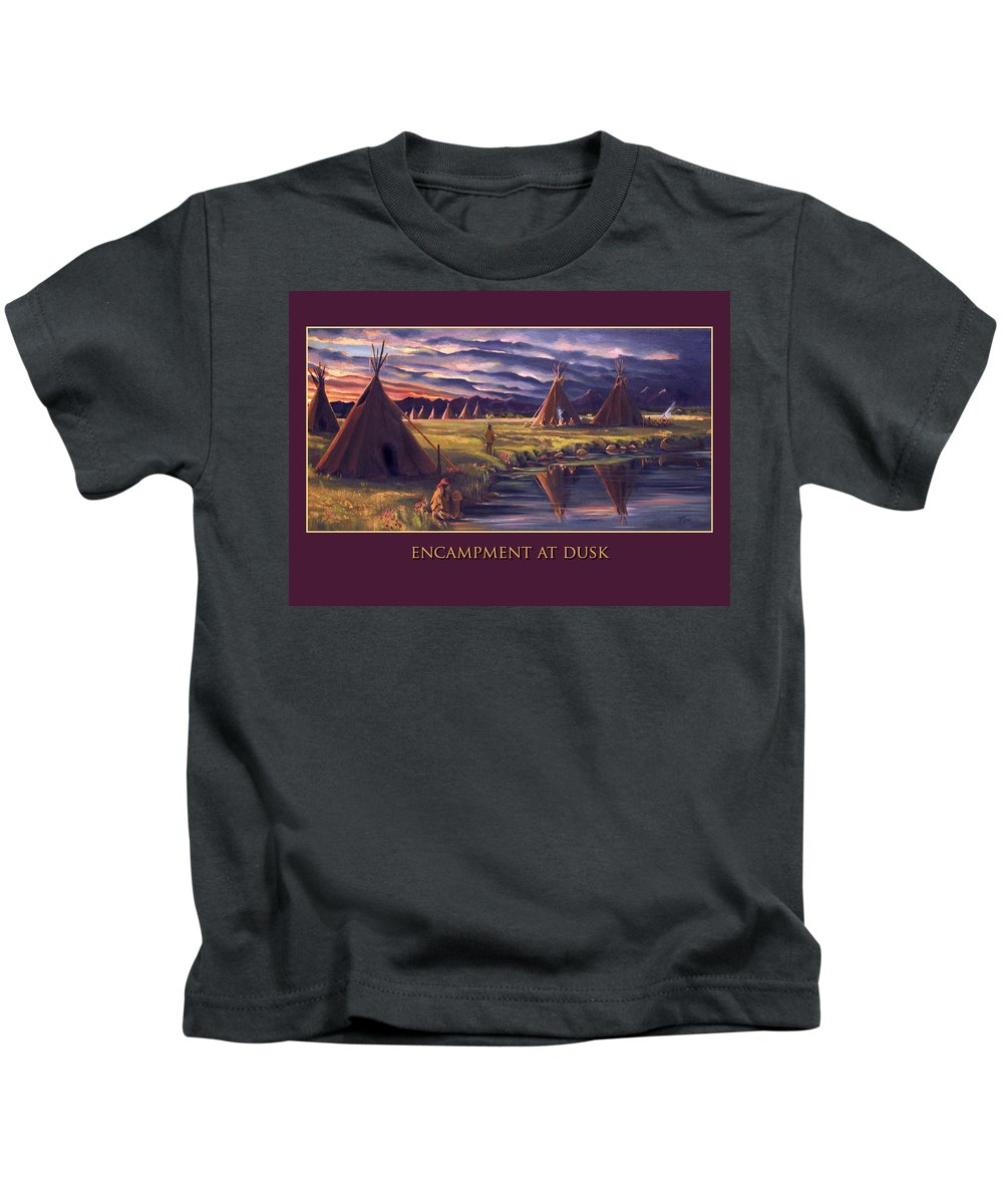 Indian Encampment Kids T-Shirt featuring the painting Encampment At Dusk by Nancy Griswold