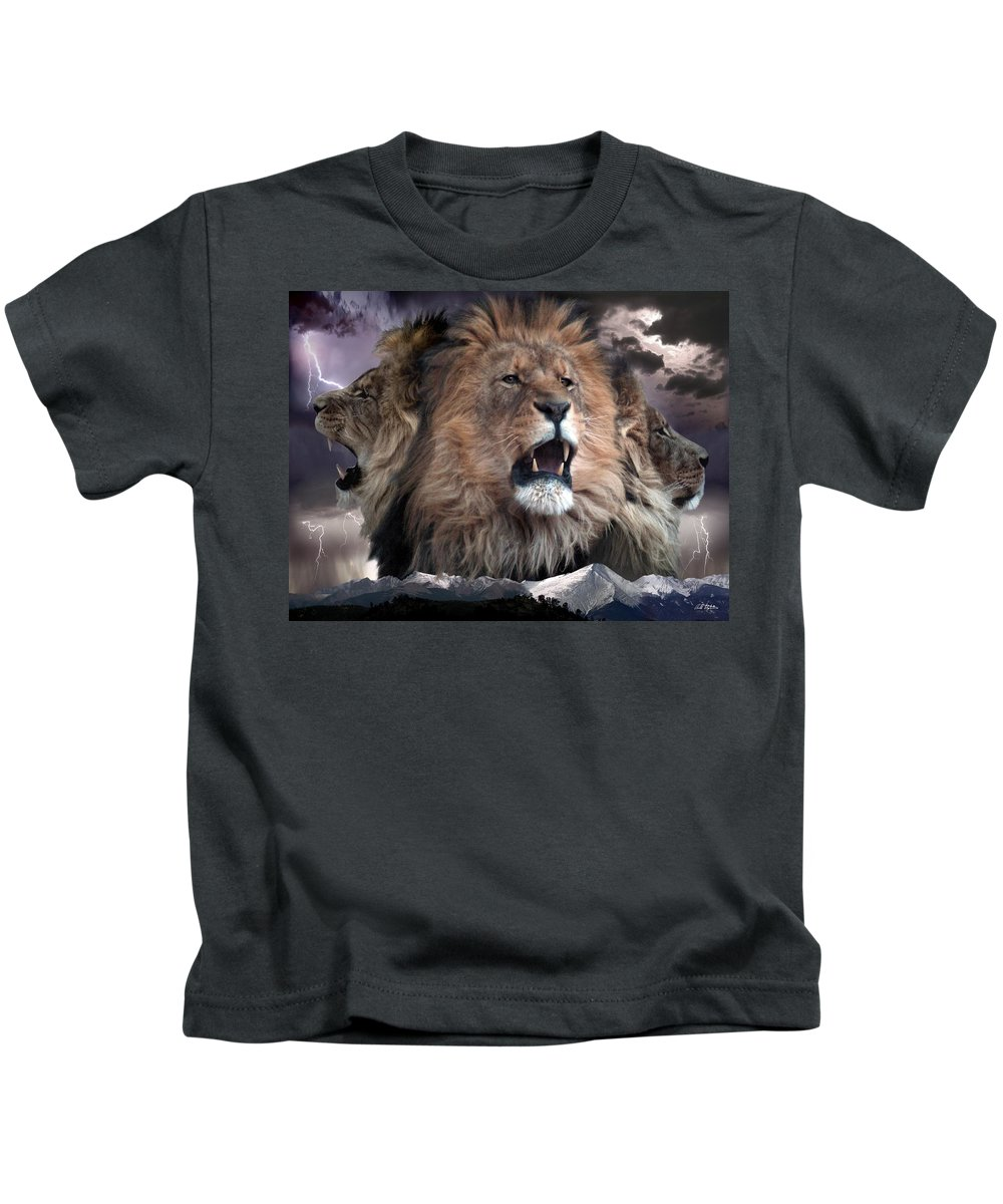 Lions Kids T-Shirt featuring the digital art Enough by Bill Stephens