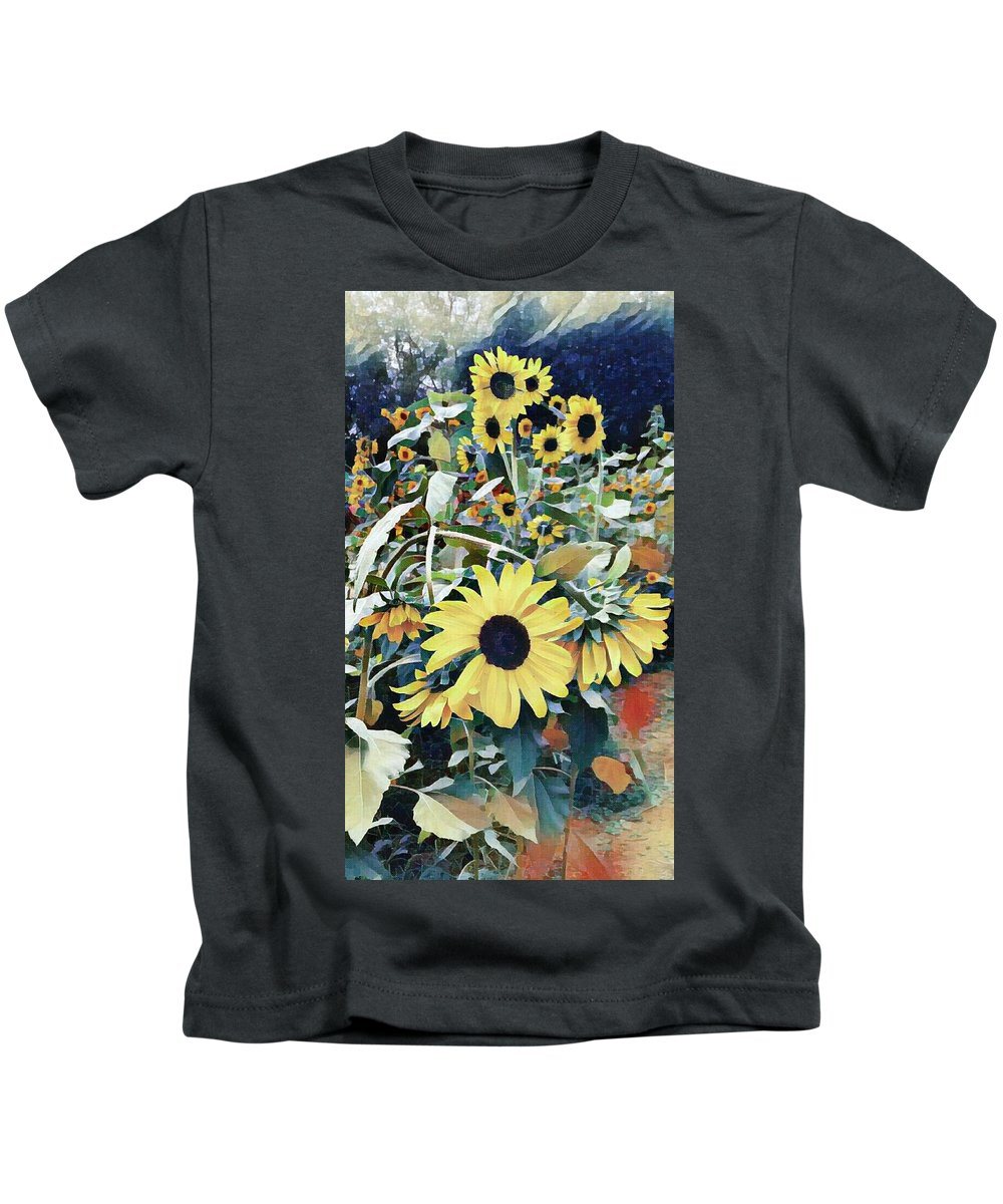 Sunflowers Kids T-Shirt featuring the painting Fall Flowers by Ally White