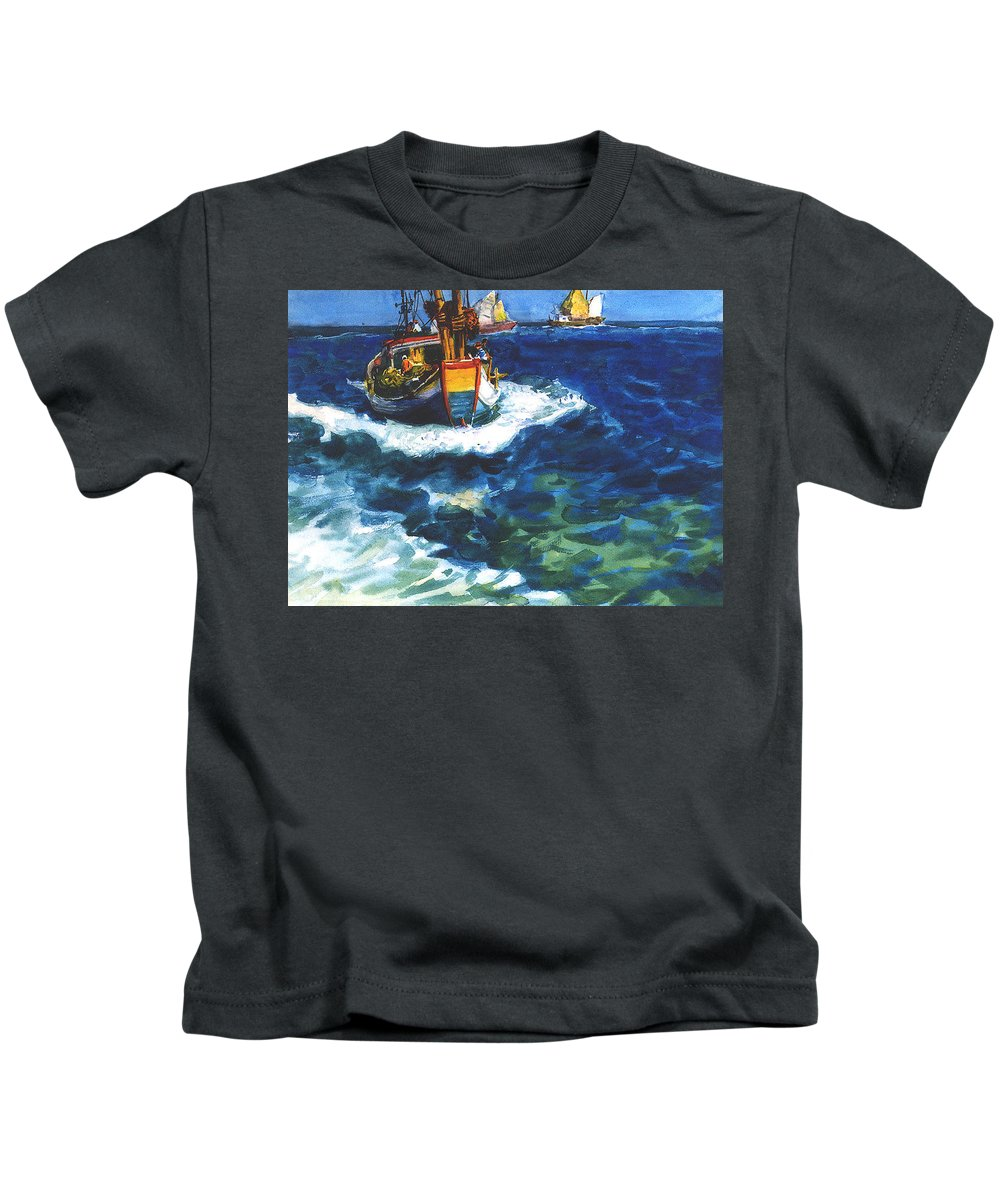 Fishing Kids T-Shirt featuring the painting Fishing Boat by Guanyu Shi