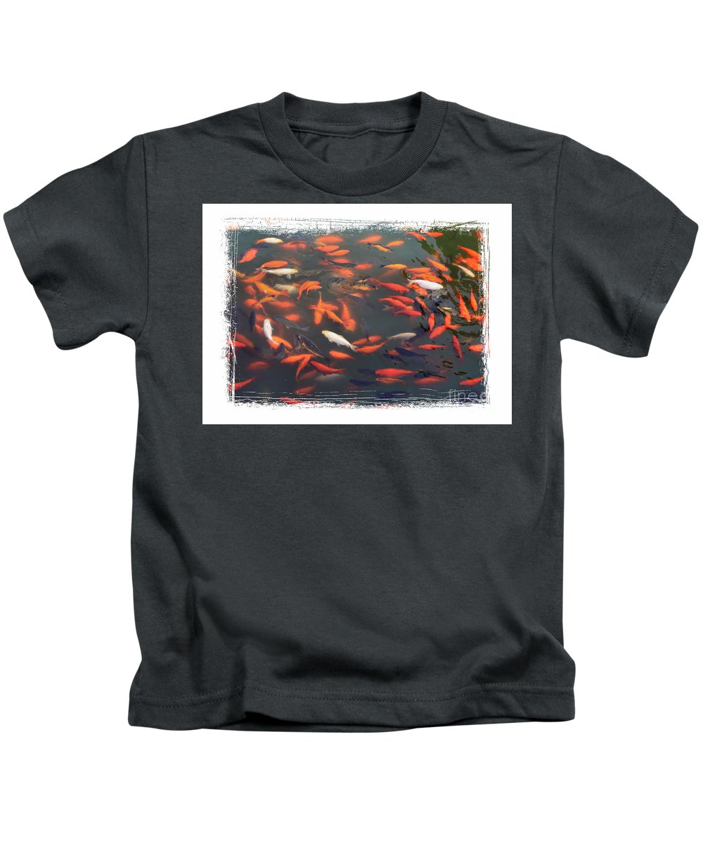 Koi Kids T-Shirt featuring the photograph Koi Pond With Framing by Carol Groenen