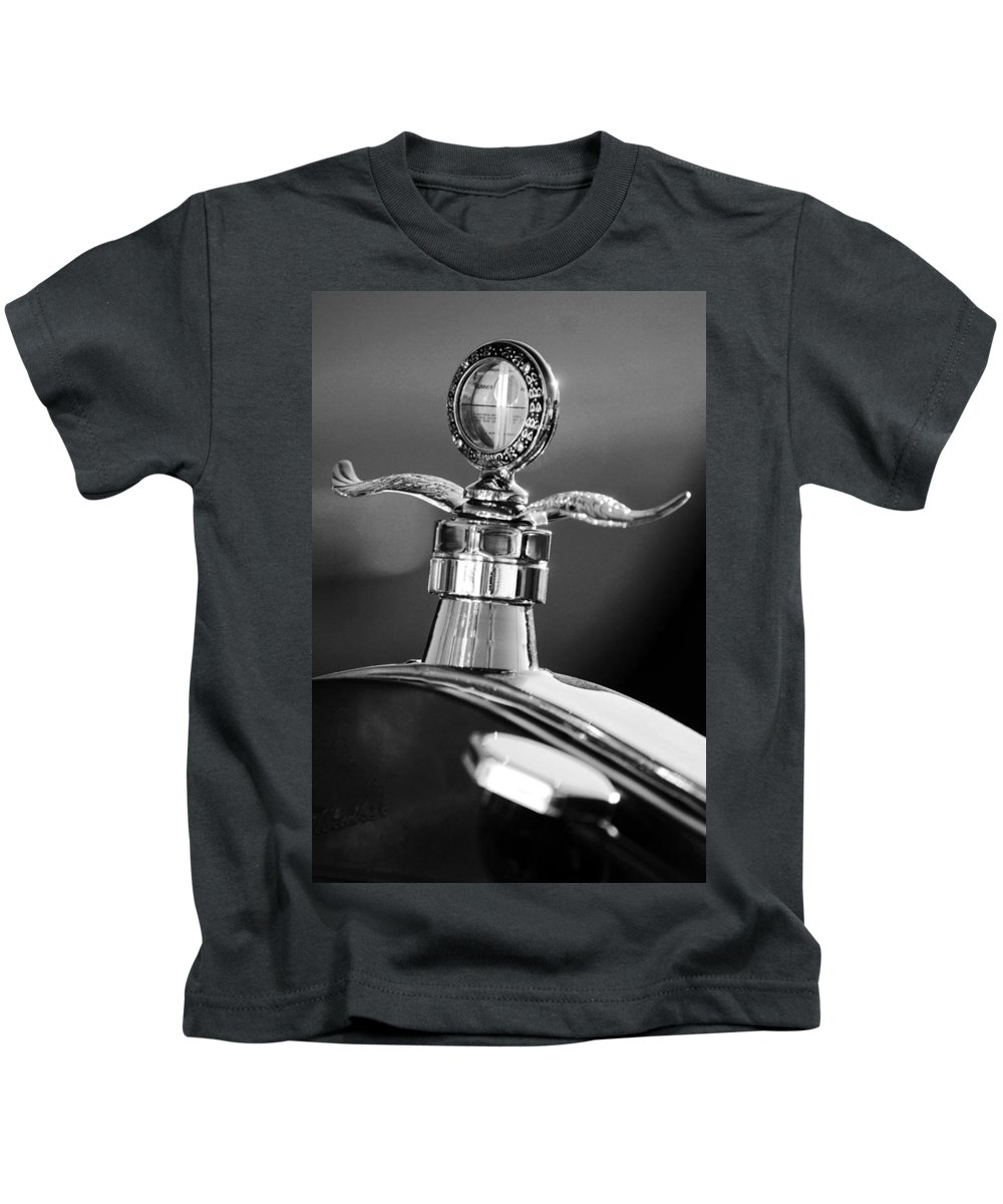 Transportation Kids T-Shirt featuring the photograph Ford Winged Hood Ornament Black And White by Jill Reger