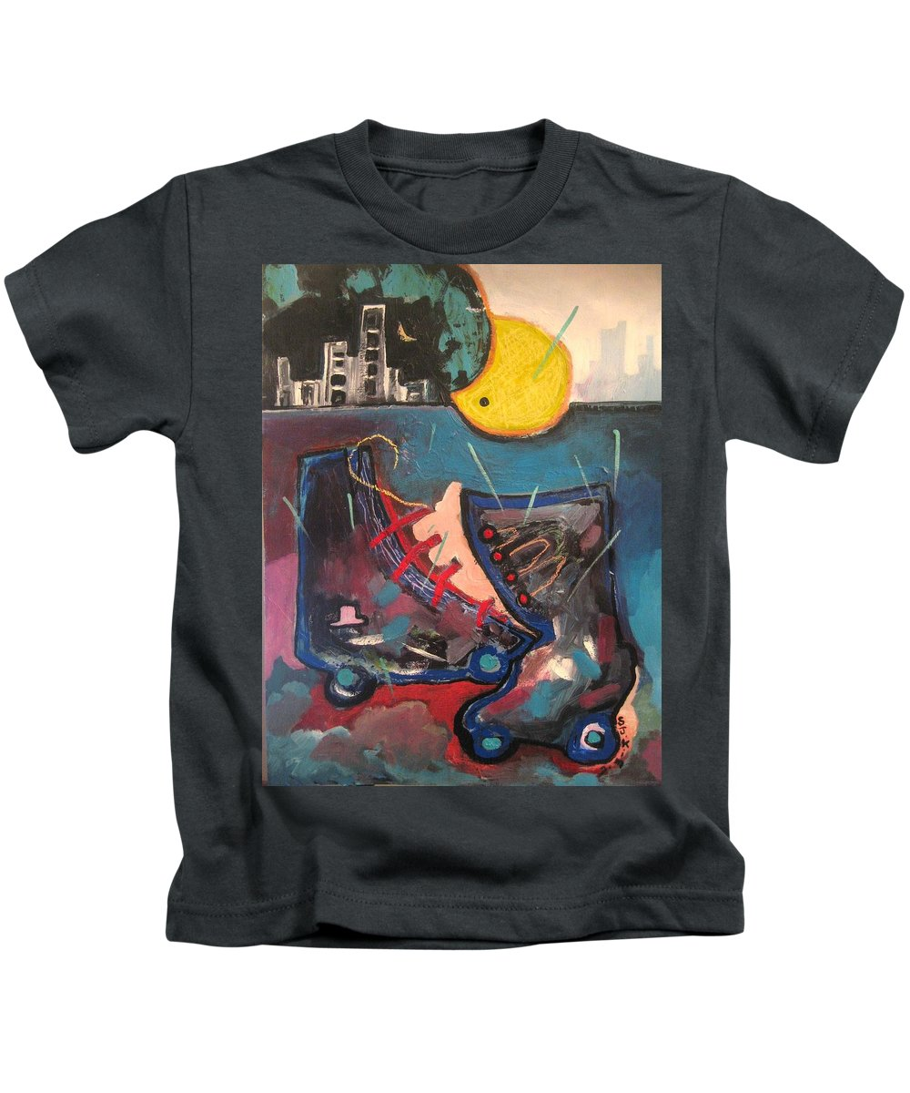 Abstract Paintings Kids T-Shirt featuring the painting Forgotten Days by Seon-Jeong Kim