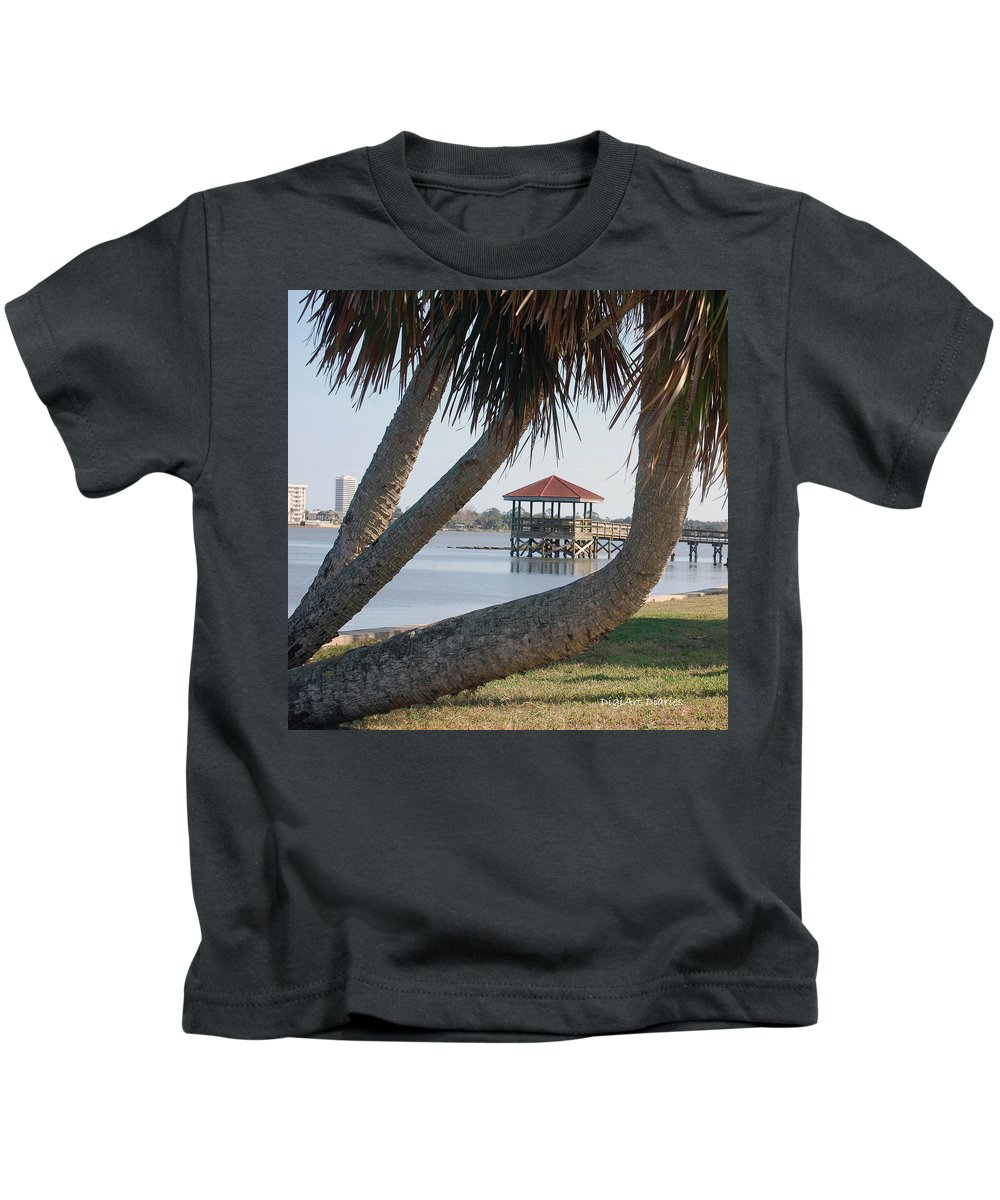 Dock Kids T-Shirt featuring the digital art Gazebo Dock Framed By Leaning Palms by DigiArt Diaries by Vicky B Fuller