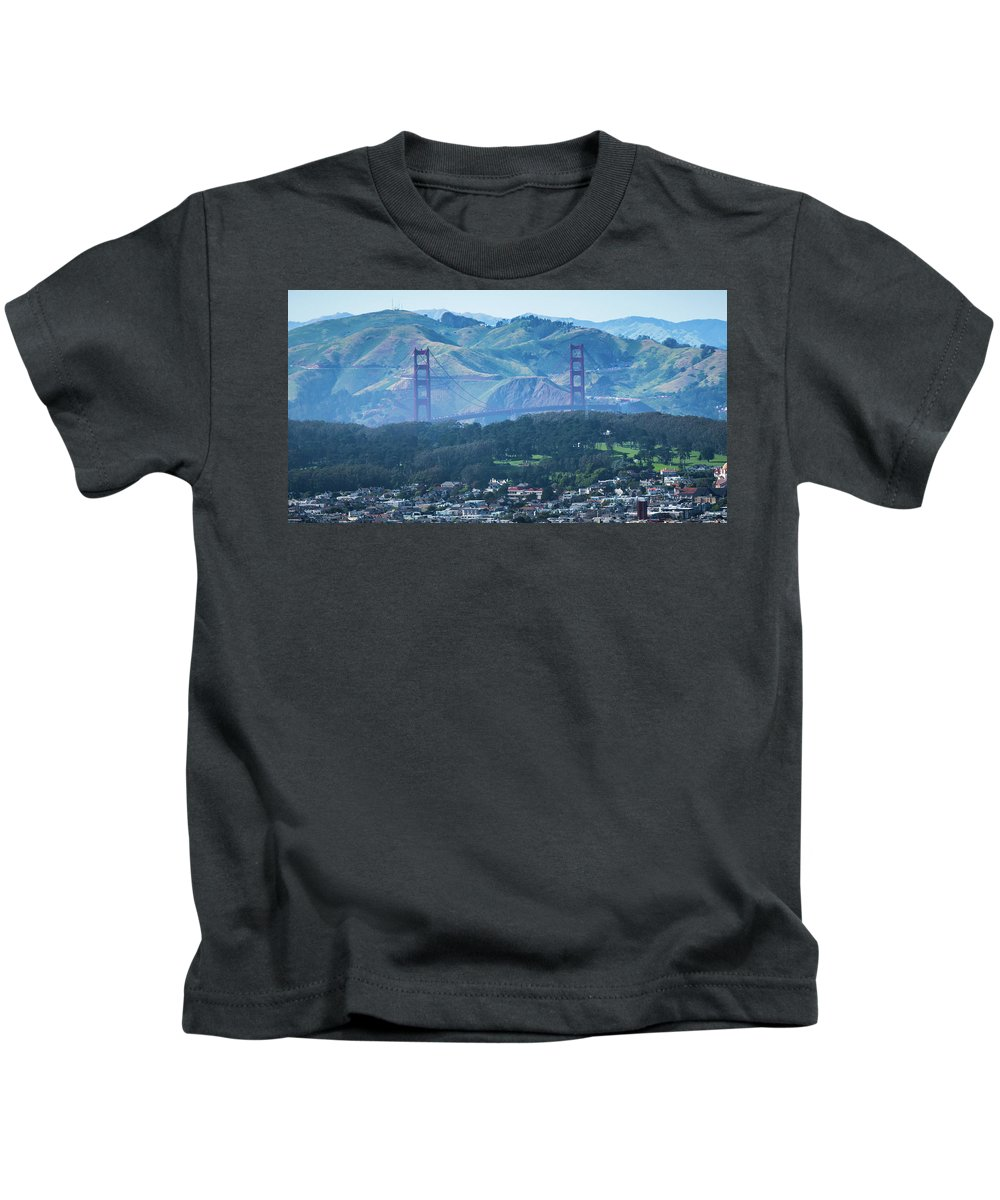 View Kids T-Shirt featuring the photograph Golden Gate Bridge View From Twin Peaks San Francisco by Alex Grichenko