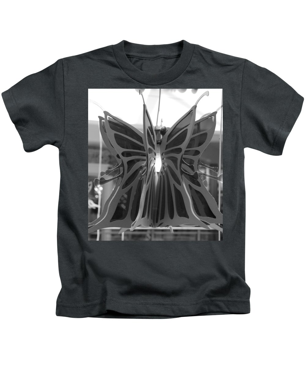Black And White Kids T-Shirt featuring the photograph Hanging Butterfly by Rob Hans