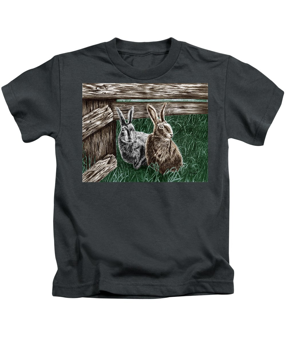 Hare Line Kids T-Shirt featuring the drawing Hare Line by Peter Piatt