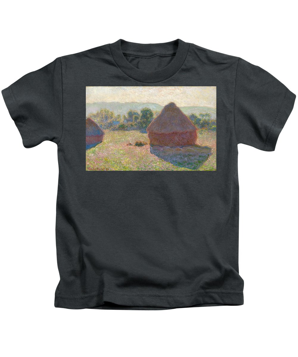 Claude Monet Kids T-Shirt featuring the painting Haystacks, Midday by Claude Monet