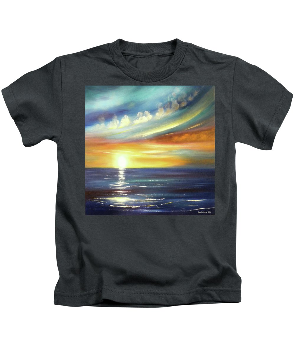 Sunset Kids T-Shirt featuring the painting Here It Goes - Square Sunset Painting by Gina De Gorna
