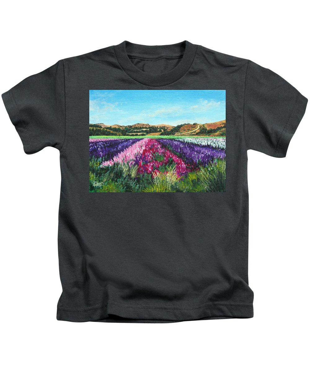 Highway 246 Kids T-Shirt featuring the painting Highway 246 Flowers 3 by Angie Hamlin