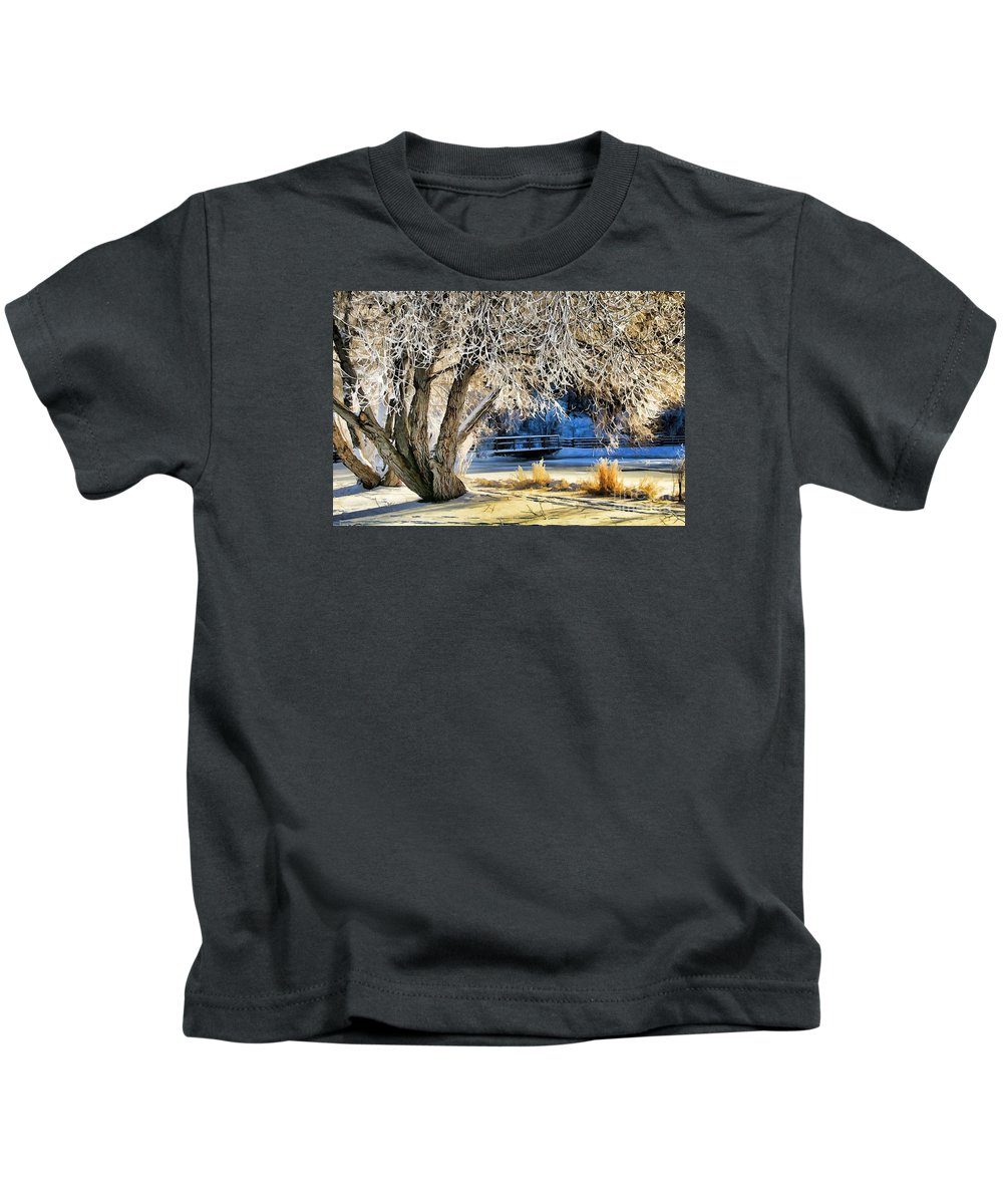 Abstract Kids T-Shirt featuring the photograph Hoar Frost by Roland Stanke