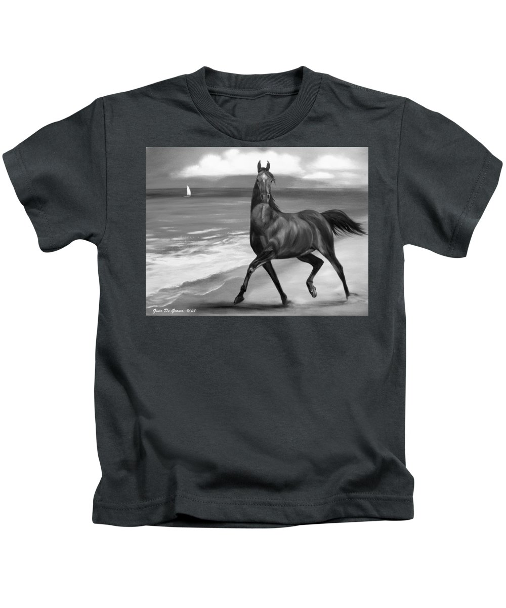 Horses Kids T-Shirt featuring the painting Horses In Paradise Dance by Gina De Gorna