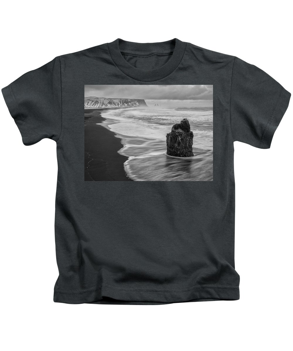 Dyrholaey Kids T-Shirt featuring the photograph Iceland Seascape by Dan Leffel