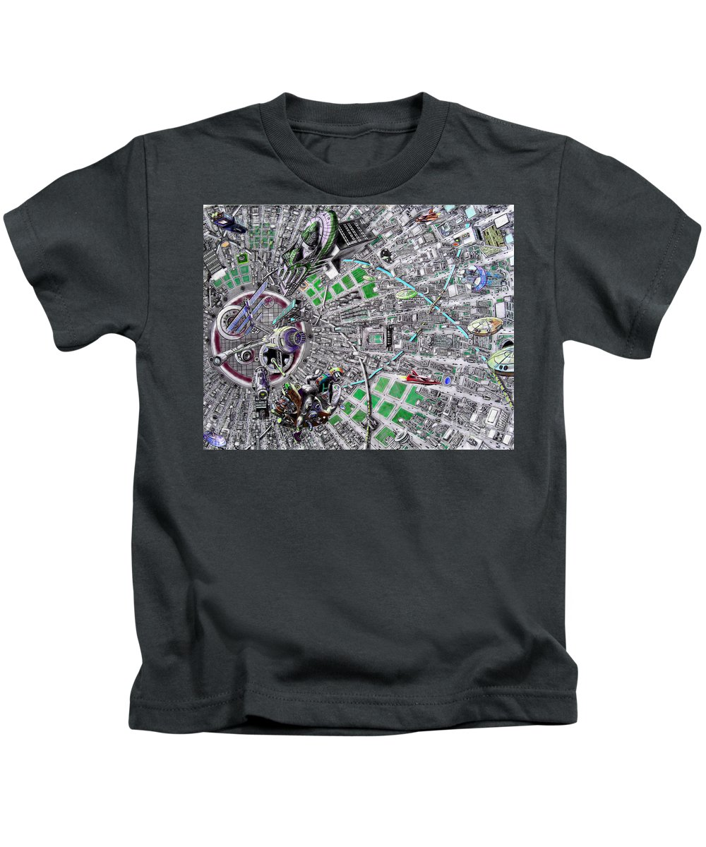 Landscape Kids T-Shirt featuring the drawing Inside Orbital City by Murphy Elliott