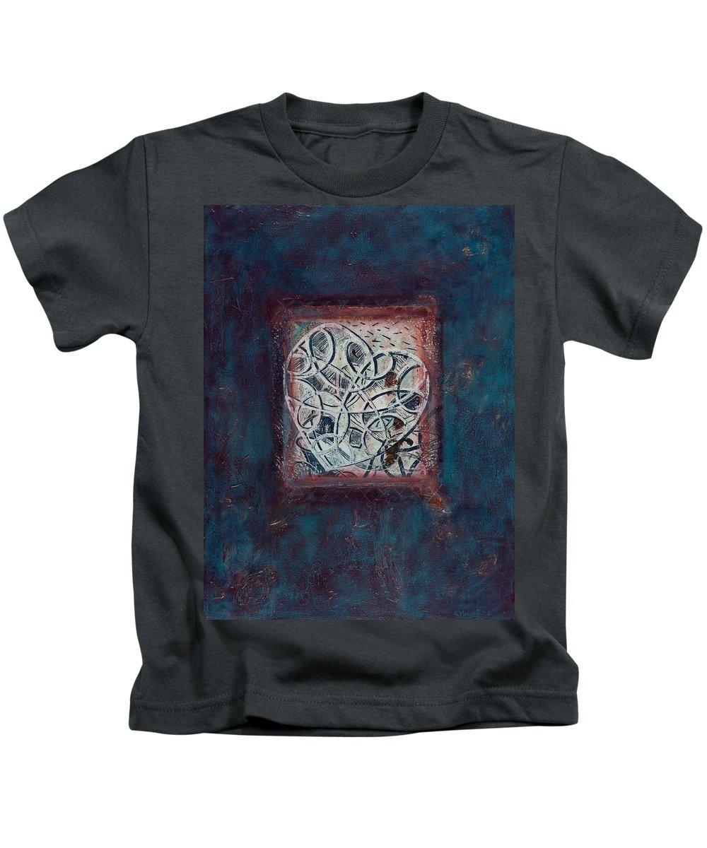 Heart Kids T-Shirt featuring the painting Inspirit - Where Spirit Resides Series by Kerryn Madsen-Pietsch