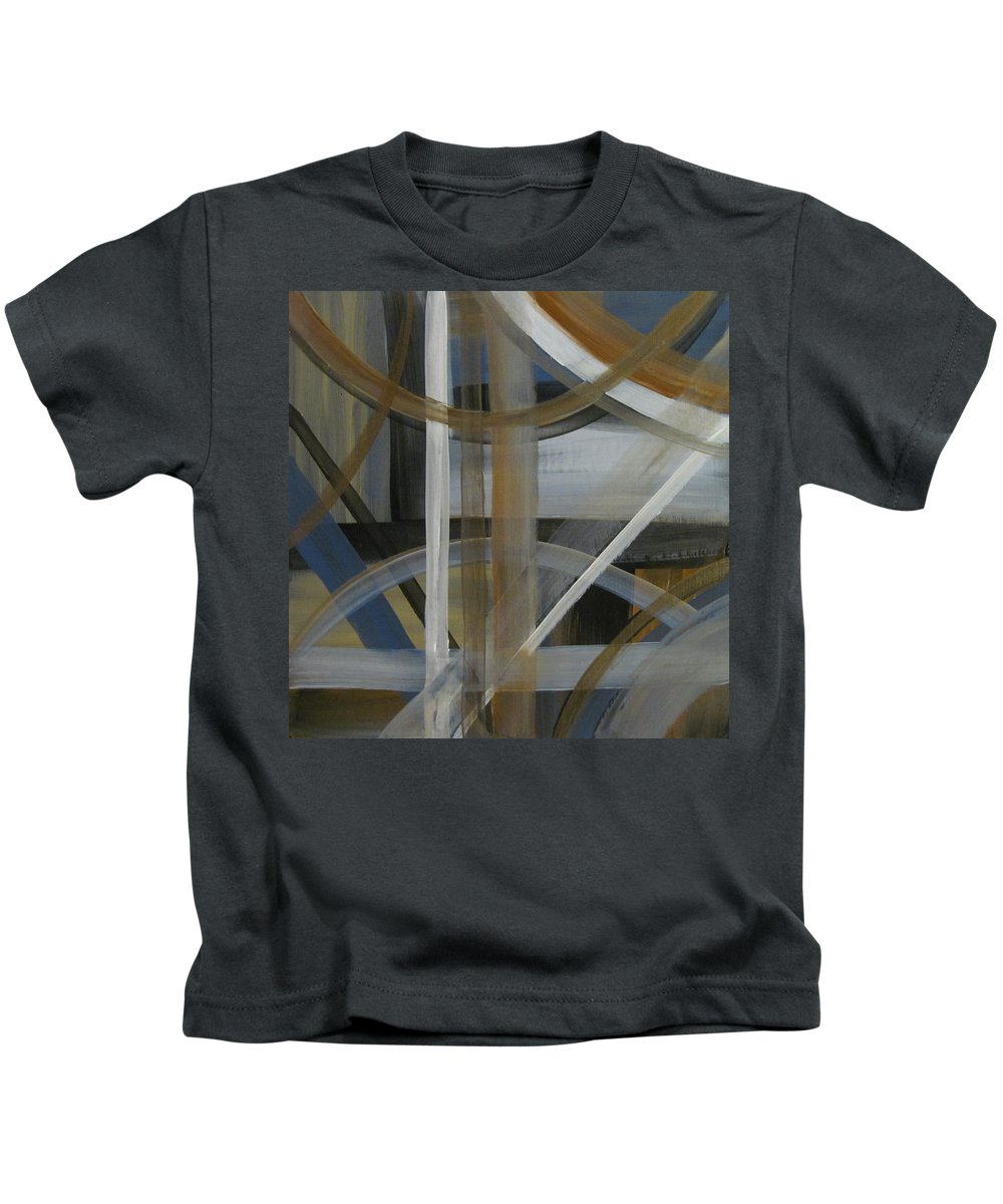 Abstract Kids T-Shirt featuring the painting Intersection In Blue 4 by Anita Burgermeister