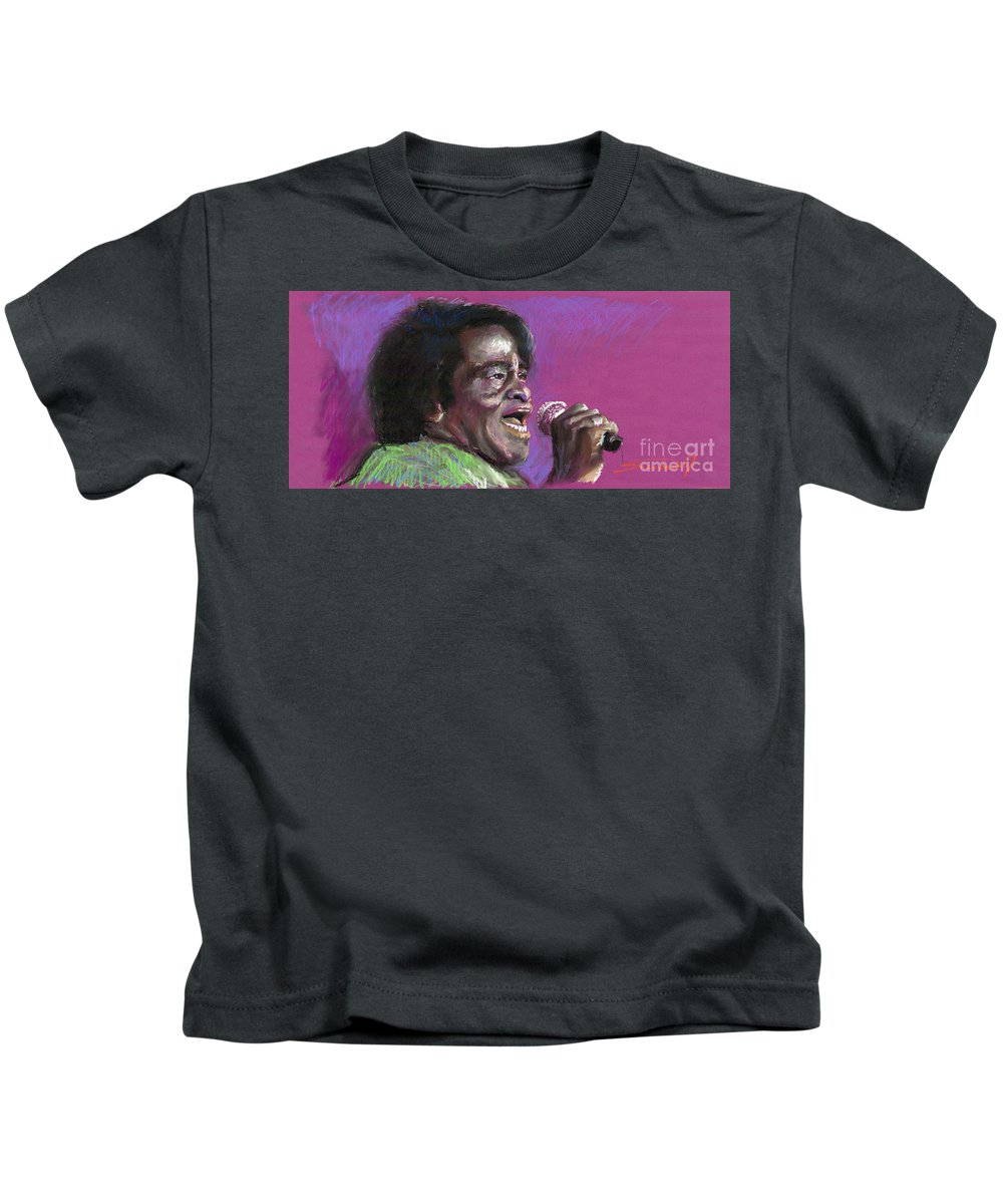 Jazz Kids T-Shirt featuring the painting Jazz. James Brown. by Yuriy Shevchuk