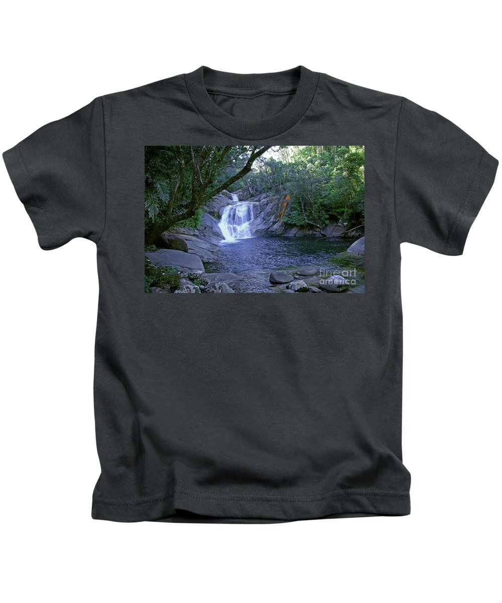 Tropical Kids T-Shirt featuring the photograph Josephine Falls And Tropical Pool by Kerryn Madsen- Pietsch
