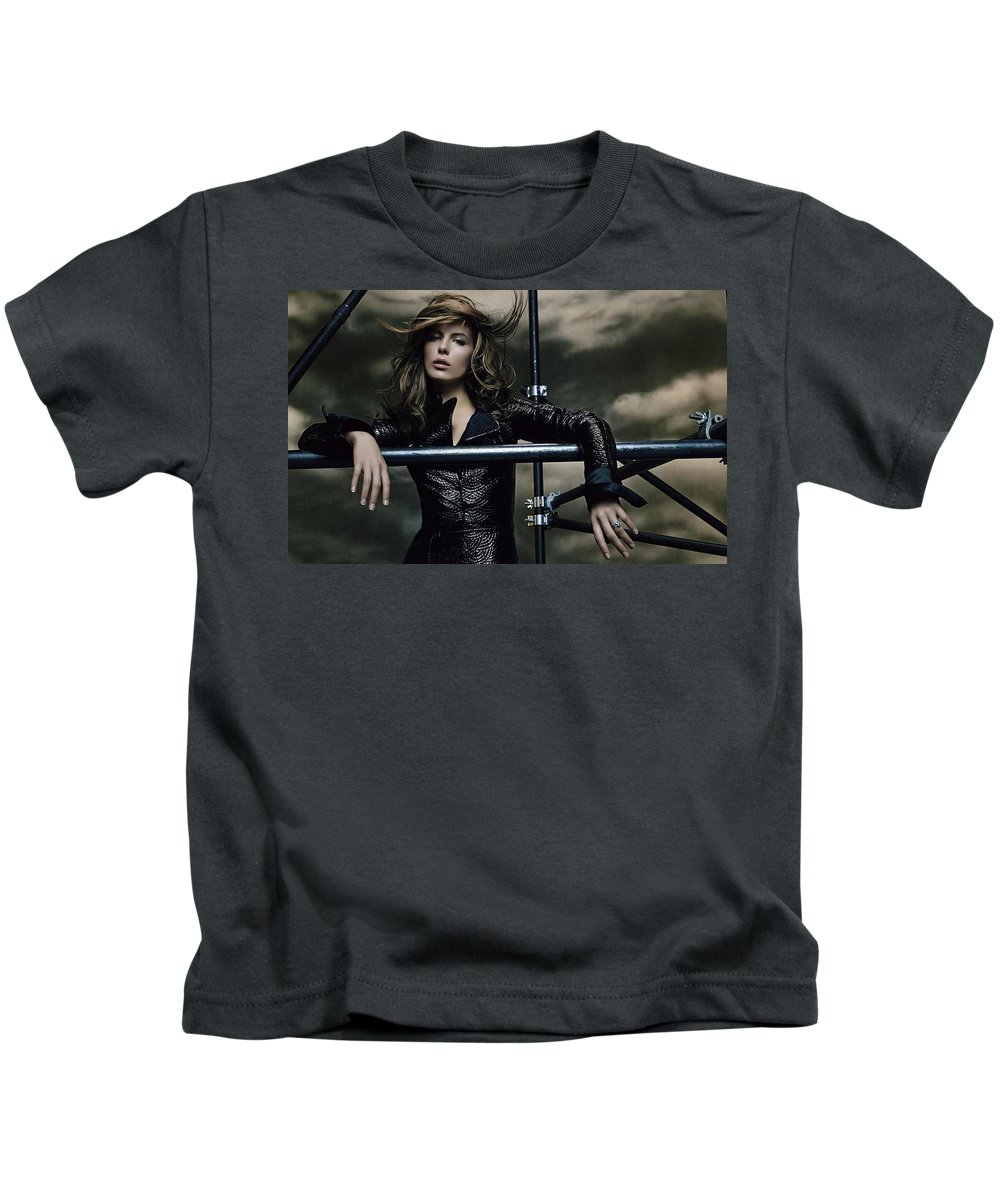 Kate Beckinsale Kids T-Shirt featuring the digital art Kate Beckinsale by Dorothy Binder