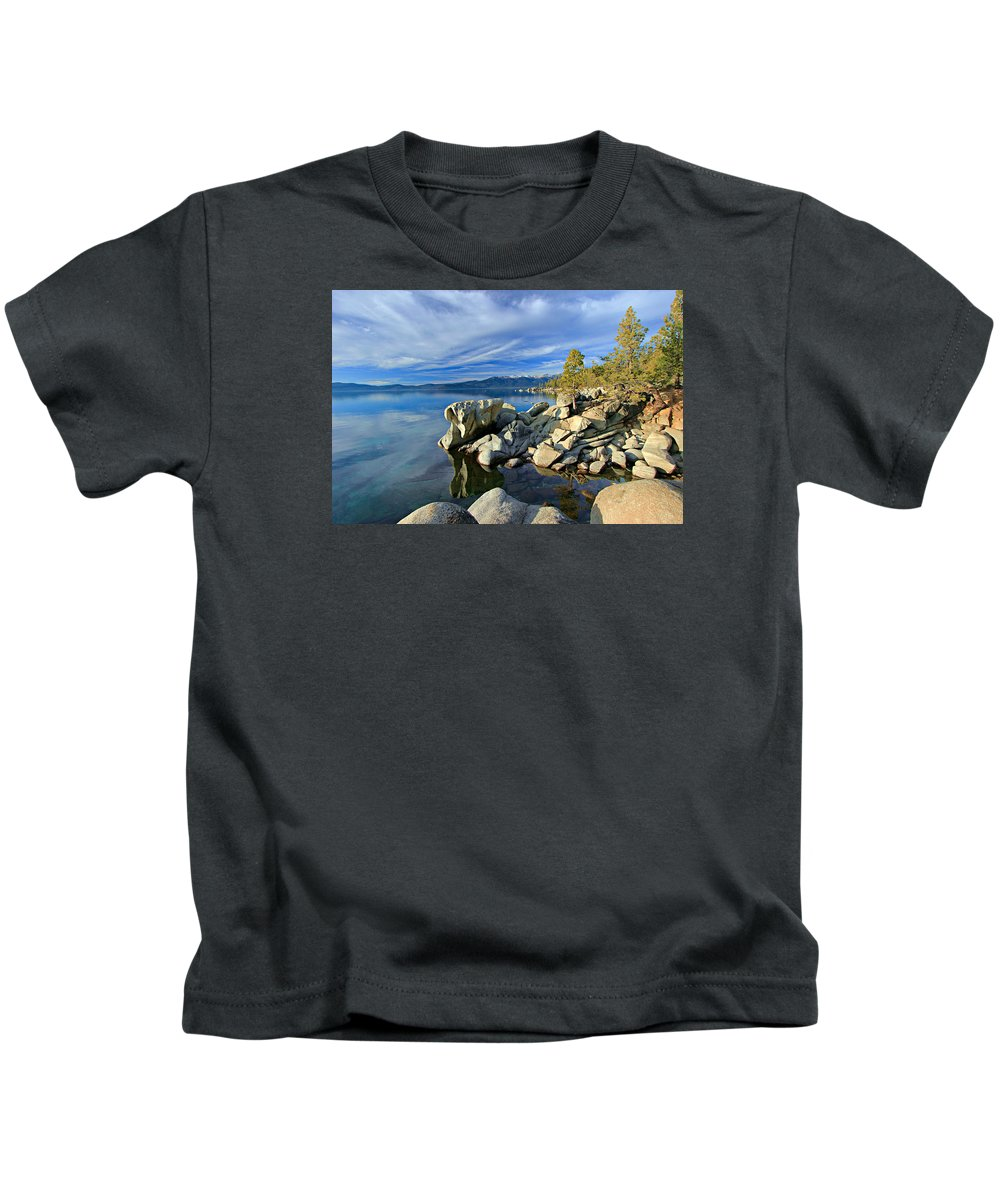 Lake Tahoe Kids T-Shirt featuring the photograph Lake Tahoe Rocks by Sean Sarsfield