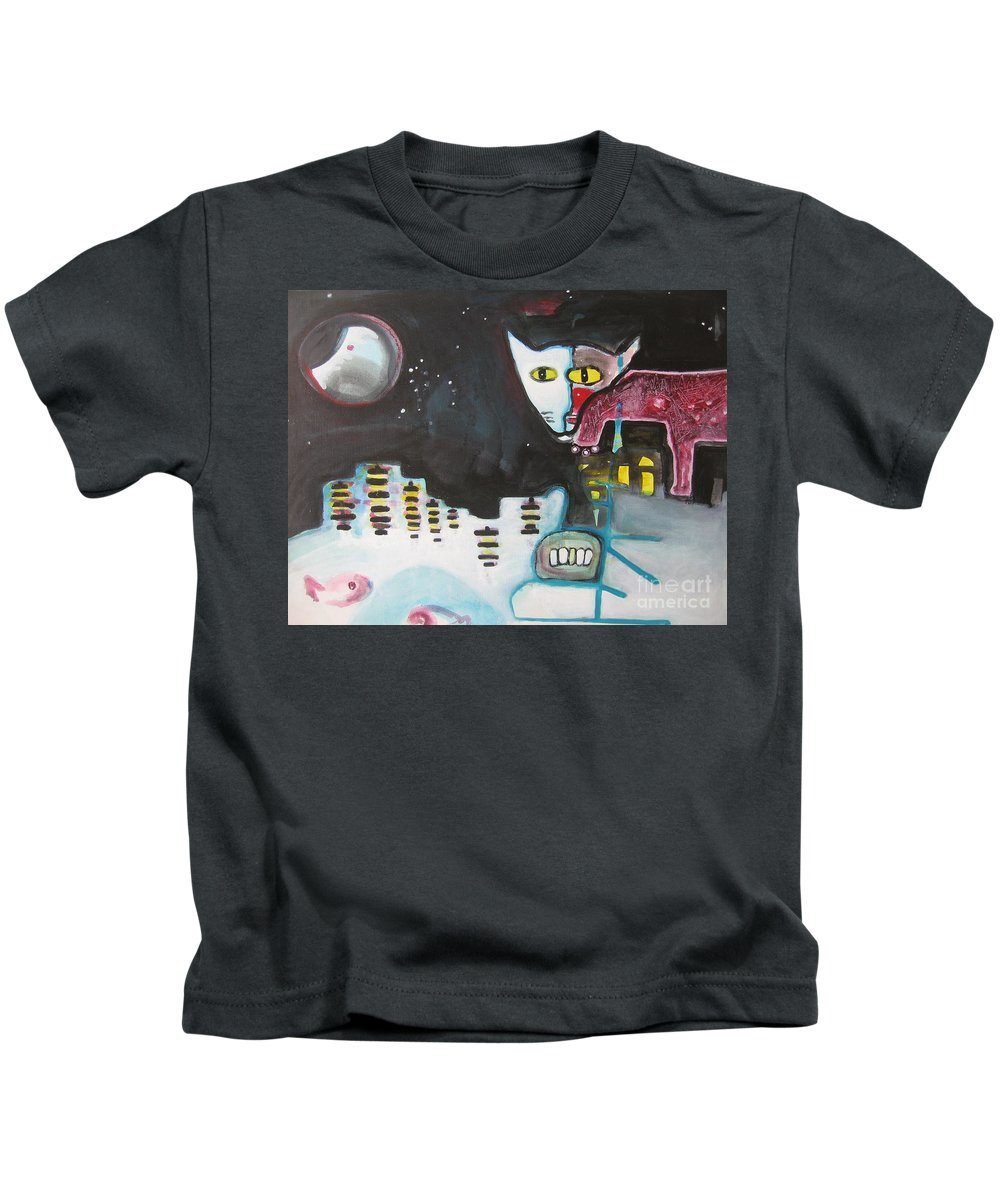 Cat Paintings Kids T-Shirt featuring the painting Let Me Out3 by Seon-Jeong Kim