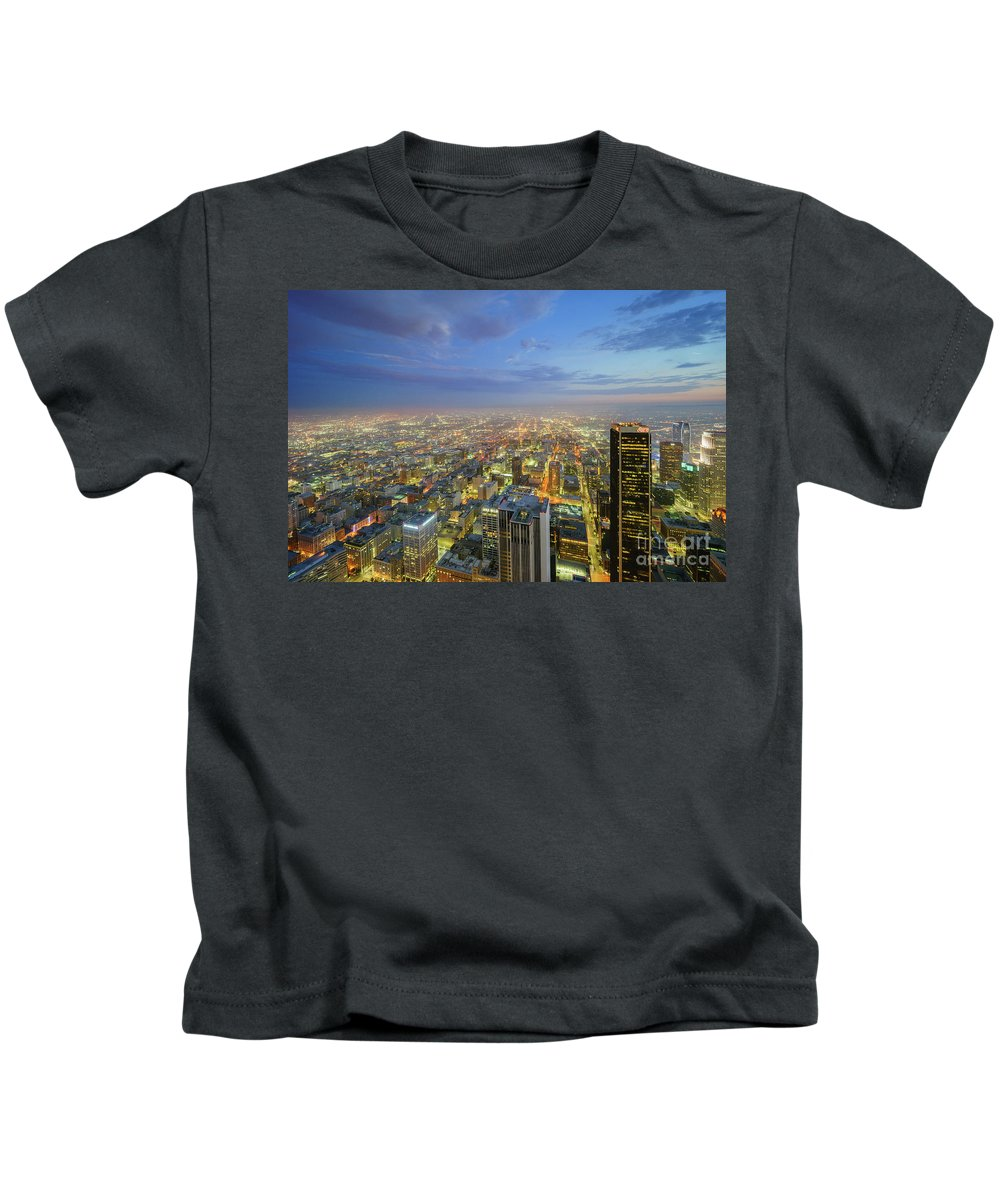 Los Angeles Kids T-Shirt featuring the photograph Los Angeles Downtown Nightscape by Chon Kit Leong