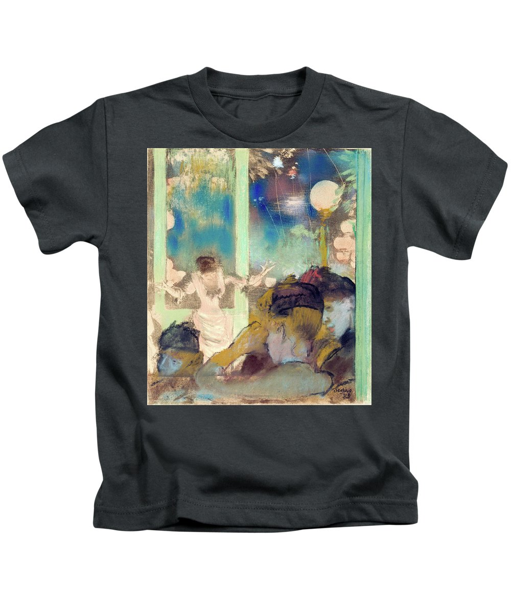 Cafe Kids T-Shirt featuring the painting Mademoiselle Becat At The Cafe Des Ambassadeurs by Edgar Degas
