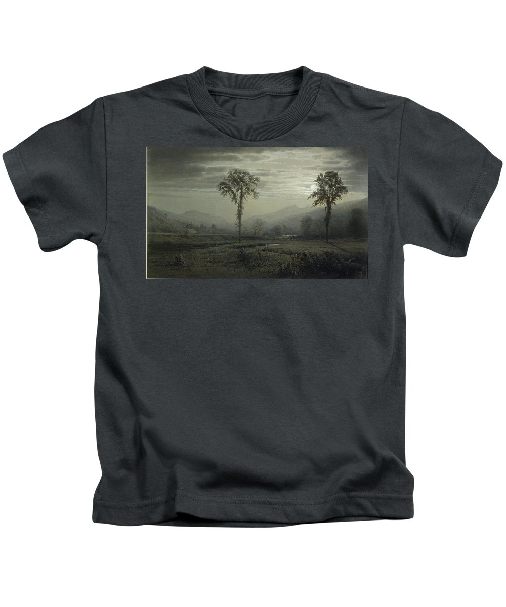 Moonlight On Mount Lafayette Kids T-Shirt featuring the painting Moonlight On Mount Lafayette by william Trost