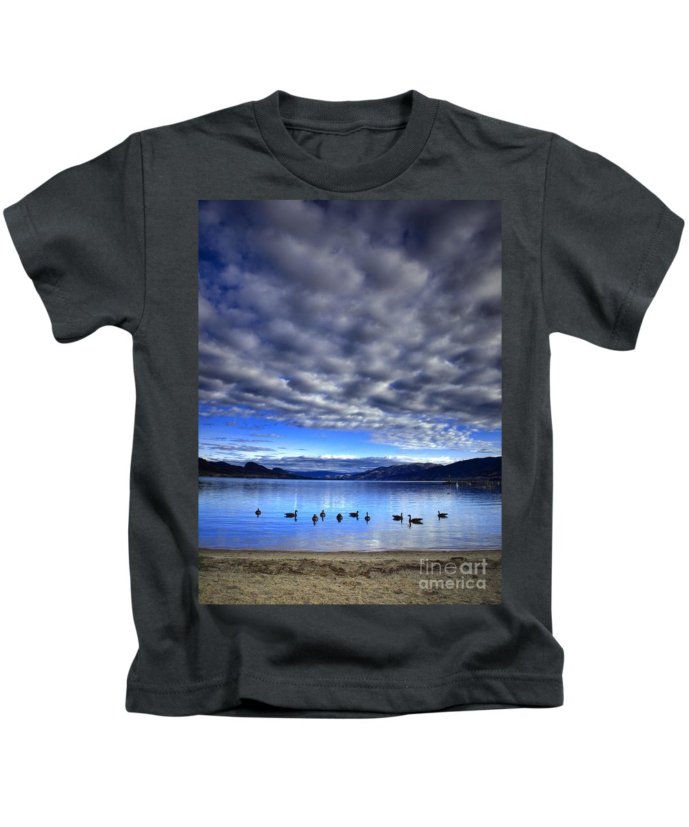 Clouds Kids T-Shirt featuring the photograph Morning Light On Okanagan Lake by Tara Turner