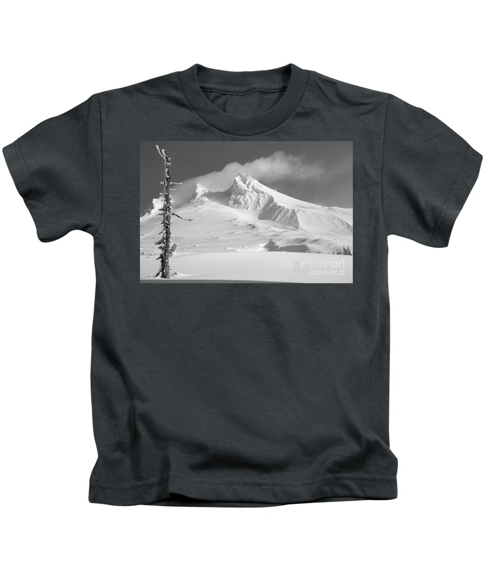 Mt. Hood Kids T-Shirt featuring the photograph Mt. Hood In Winter by Bruce Block