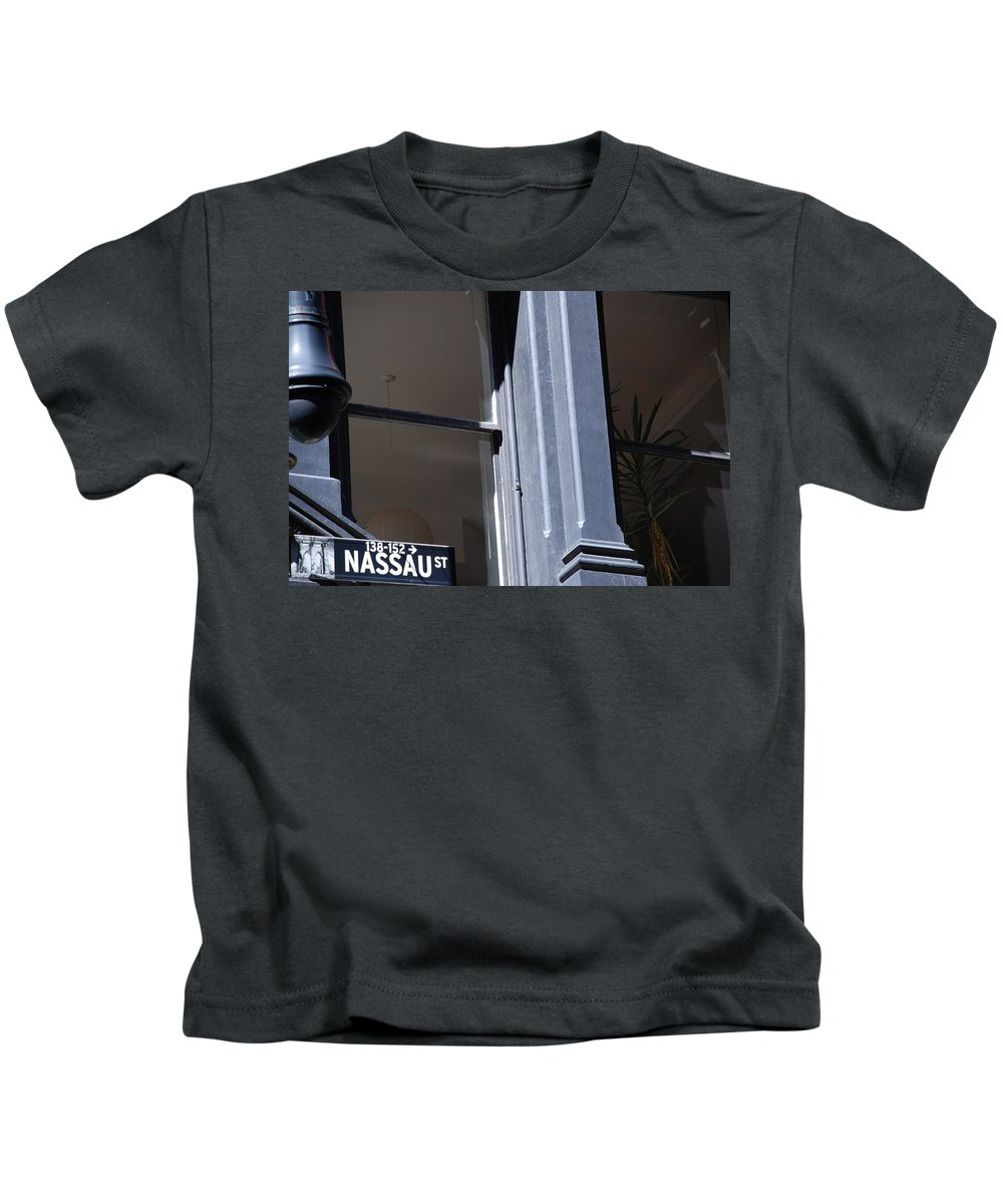 New York City Kids T-Shirt featuring the photograph Nassau Street by Rob Hans