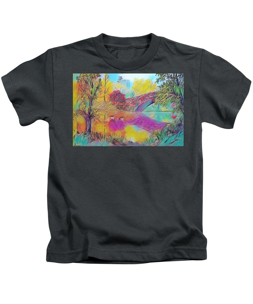 Centralpark Kids T-Shirt featuring the painting New York In Fall by Michael Mrozik