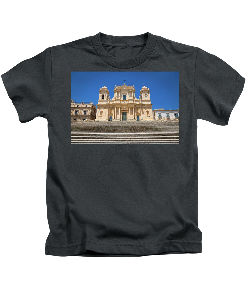 Architecture Kids T-Shirt featuring the photograph Noto, Sicily, Italy - San Nicolo Cathedral, Unesco Heritage Site by Paolo Modena