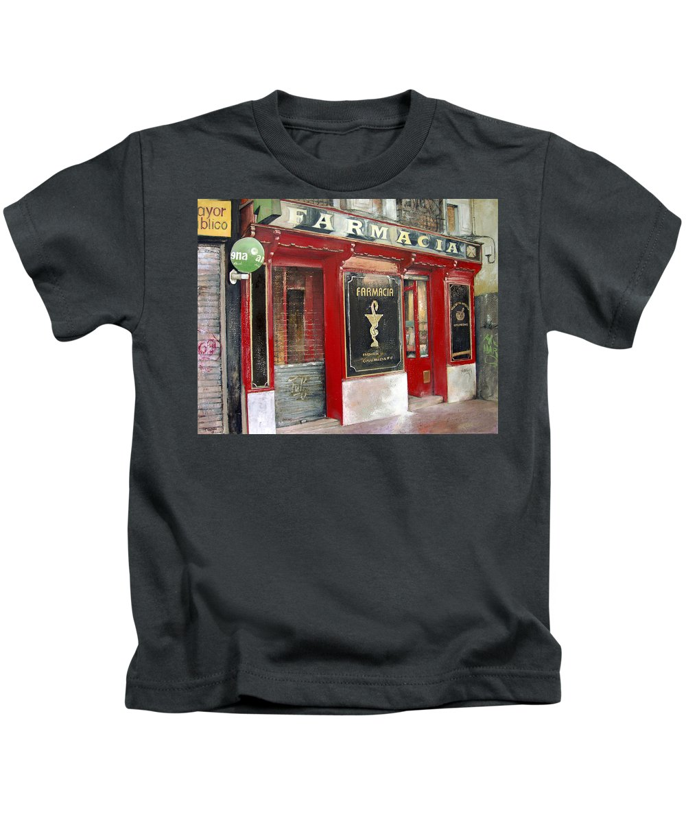 Farmacia Kids T-Shirt featuring the painting Old Pharmacy by Tomas Castano