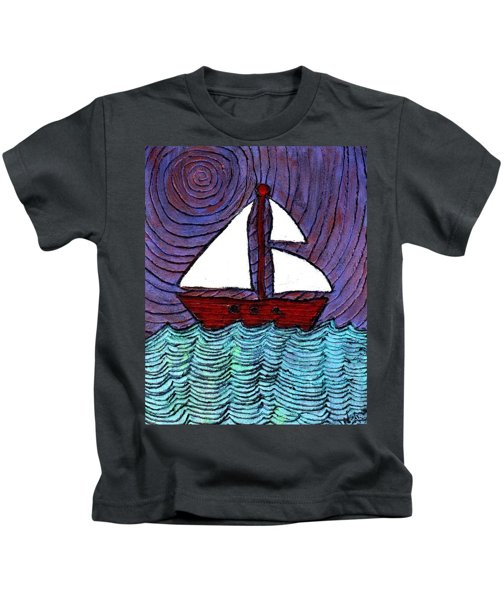 River Kids T-Shirt featuring the painting On The River by Wayne Potrafka