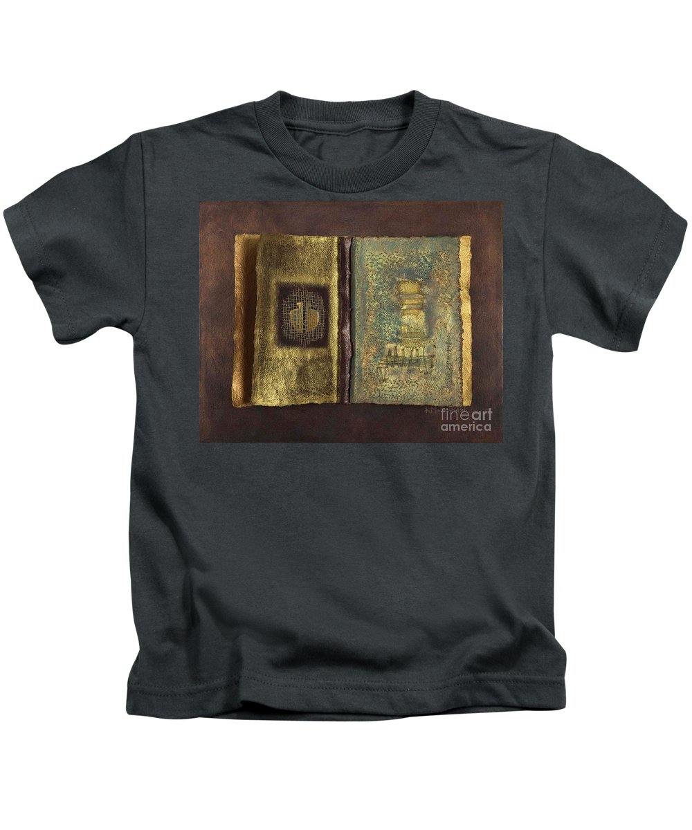 Artist-book Kids T-Shirt featuring the mixed media Page Format No 1 Transitional Series by Kerryn Madsen-Pietsch