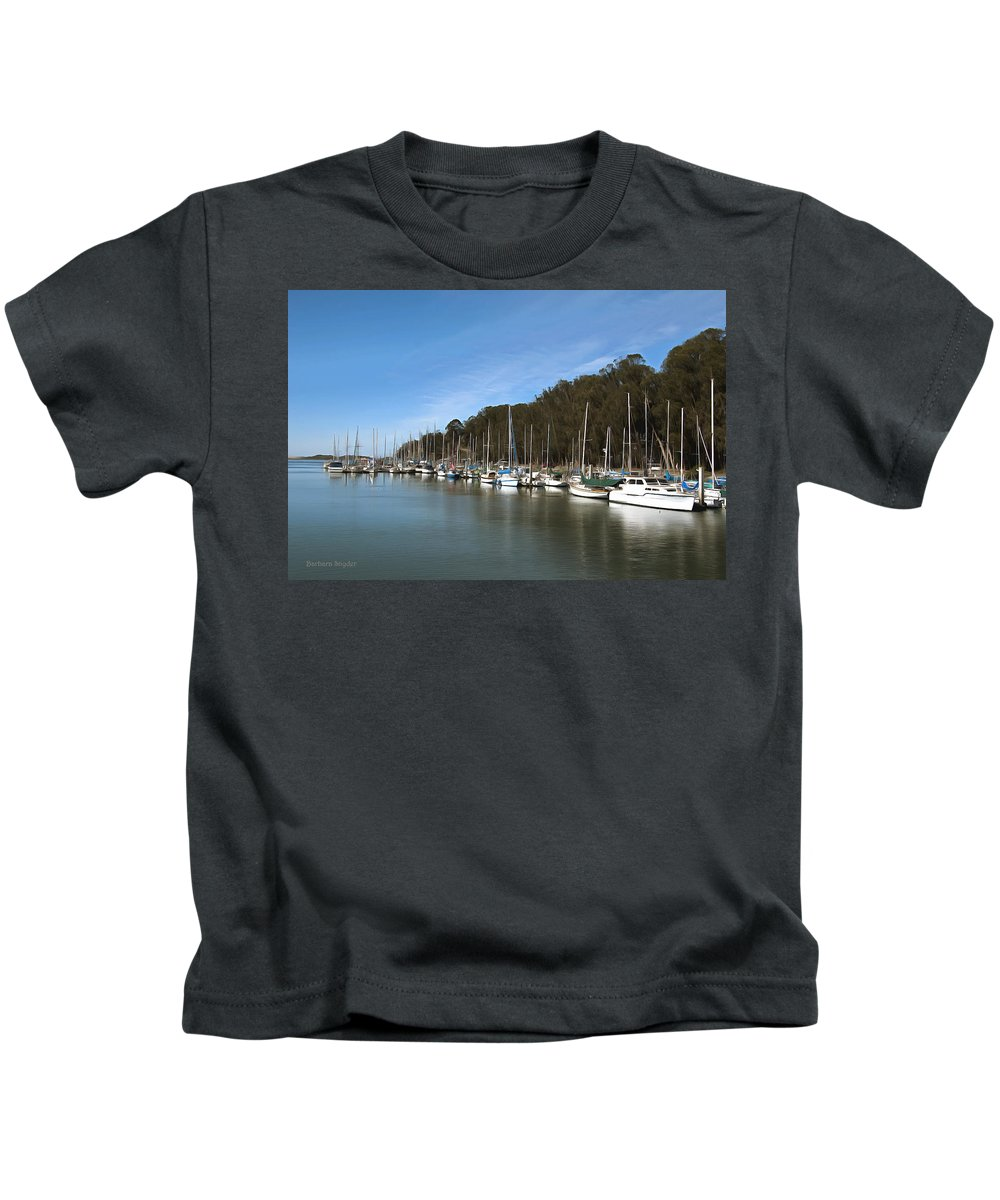 Marina Kids T-Shirt featuring the photograph Painting Bay Side Harbor by Barbara Snyder