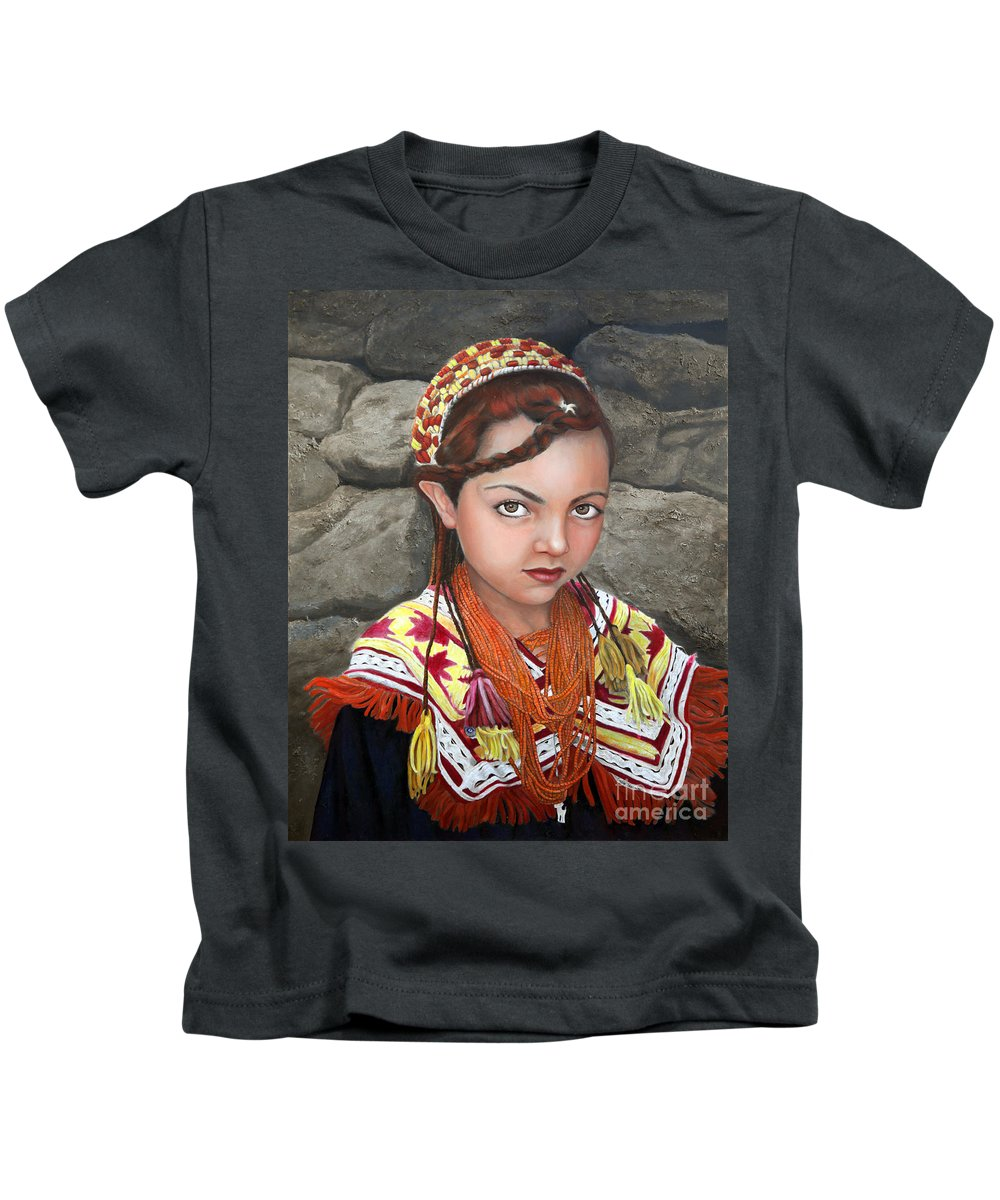 Figurative Art Kids T-Shirt featuring the painting Pakistani Girl by Portraits By NC