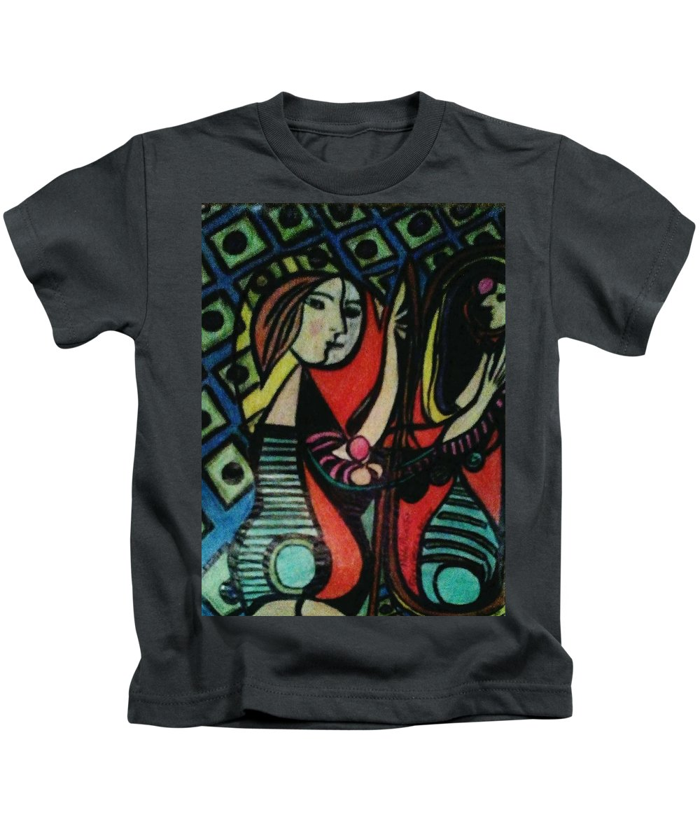 Picasso Kids T-Shirt featuring the drawing Picasso's Girl Beside A Mirror by Gordon Wilner