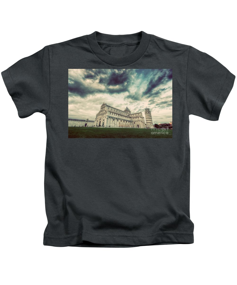 Pisa Kids T-Shirt featuring the photograph Pisa Cathedral With The Leaning Tower Of Pisa, Tuscany, Italy. Vintage by Michal Bednarek