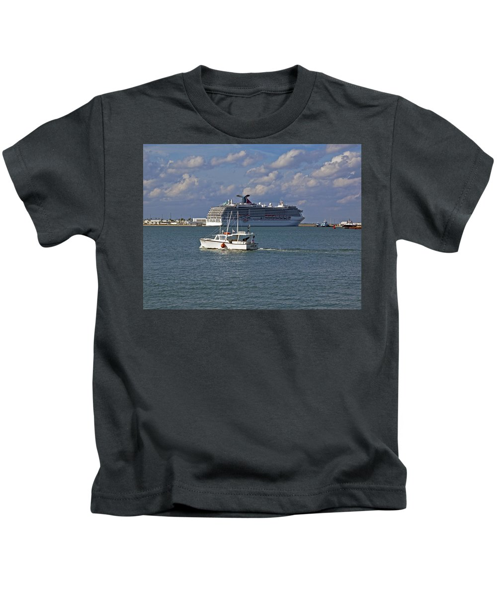 Port Kids T-Shirt featuring the photograph Port Canaveral In Florida by Allan Hughes