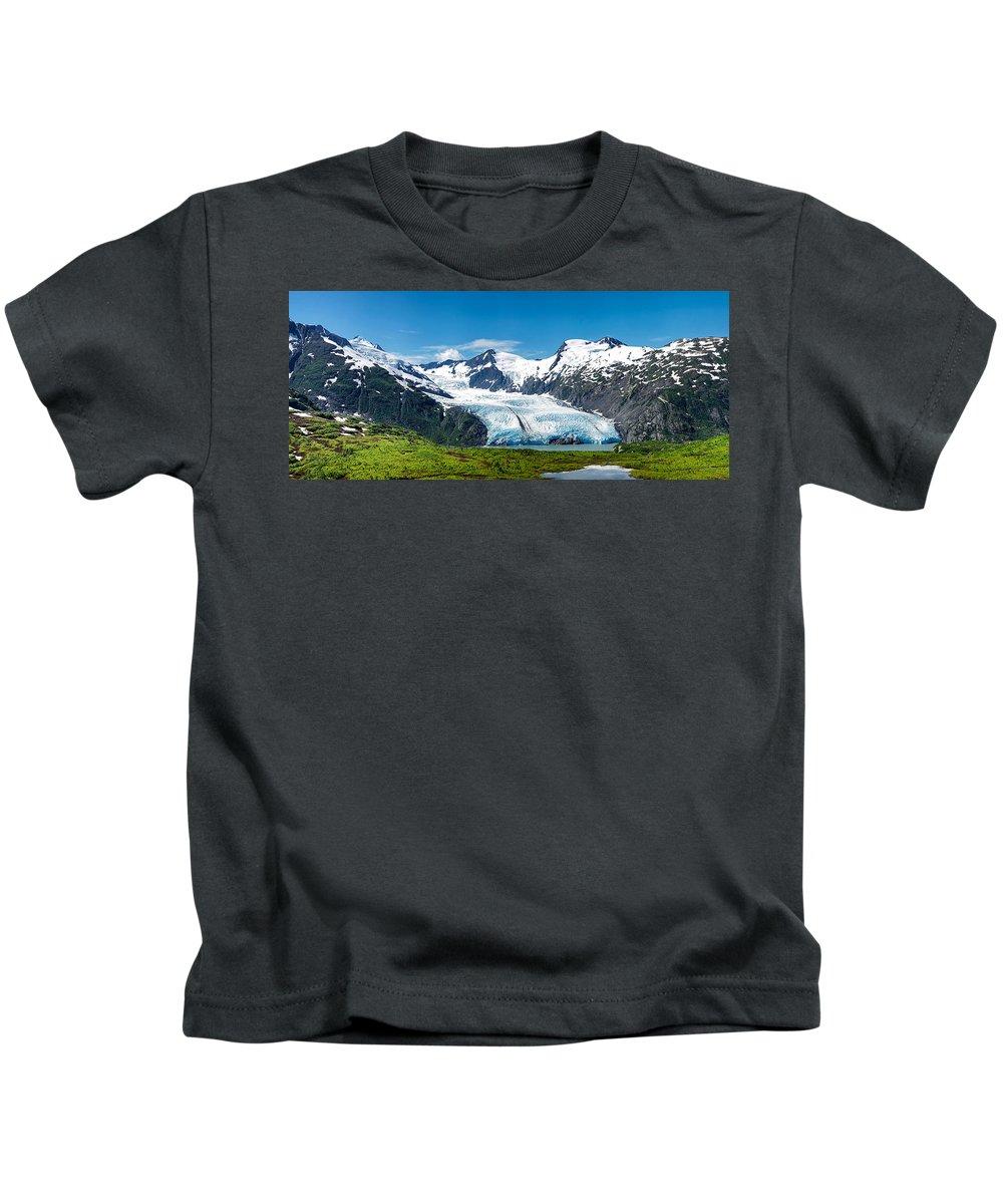 Alaska Kids T-Shirt featuring the photograph Portage Glacier by Ed Boudreau