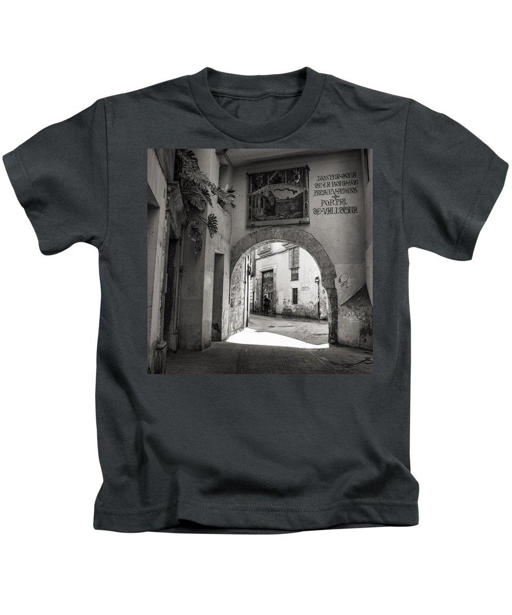 Barrio Carmen Kids T-Shirt featuring the photograph Portal De Valldigna In El Carmen by For Ninety One Days
