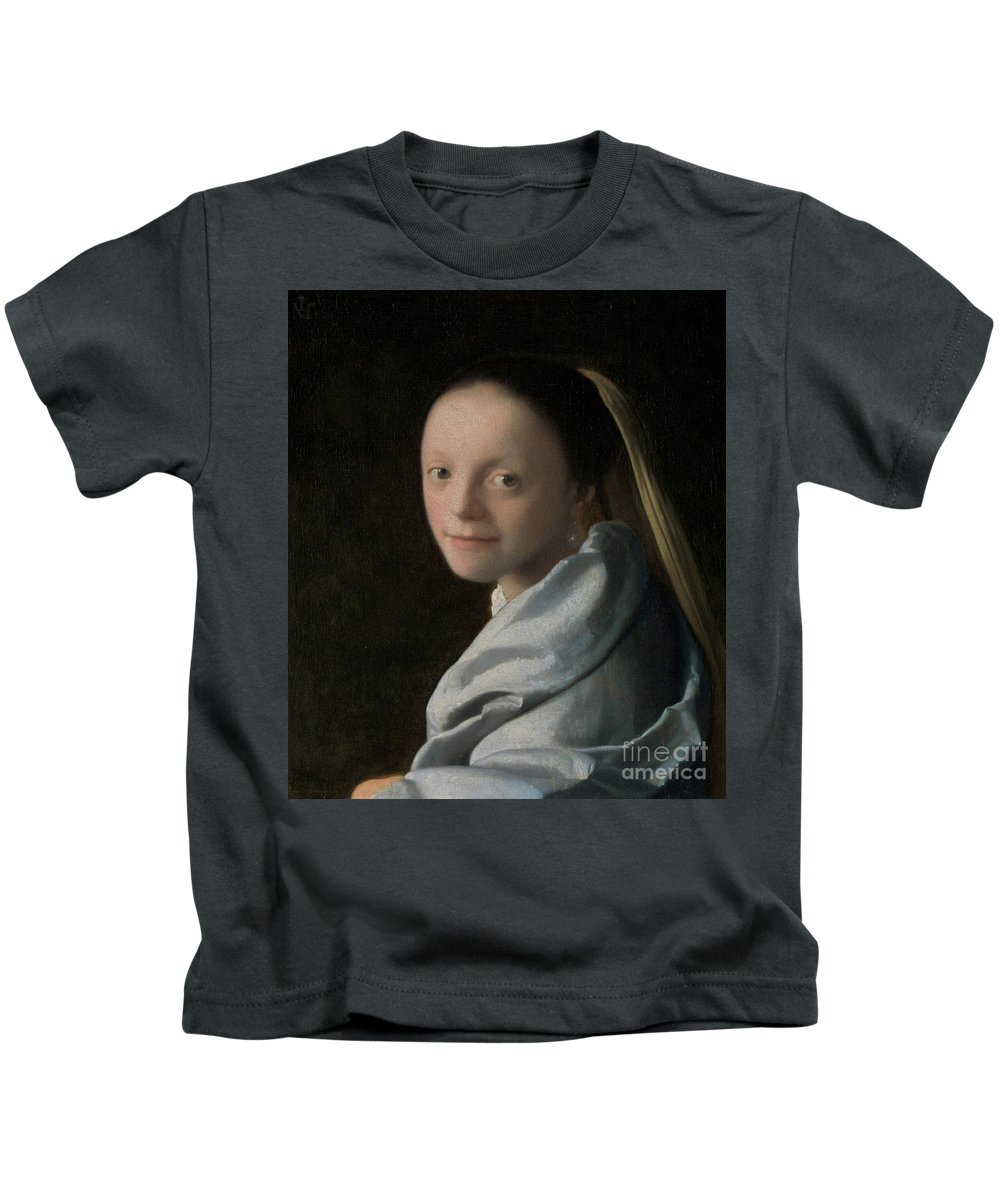 Vermeer Kids T-Shirt featuring the painting Portrait Of A Young Woman by Jan Vermeer