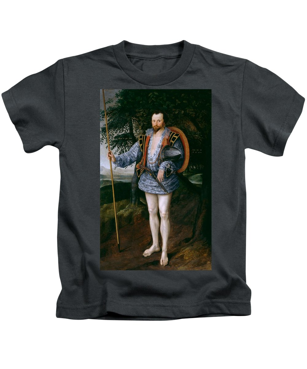 Marcus Gheeraerts Ii - Portrait Of Captain Thomas Lee Kids T-Shirt featuring the painting Portrait Of Captain Thomas Lee by MotionAge Designs