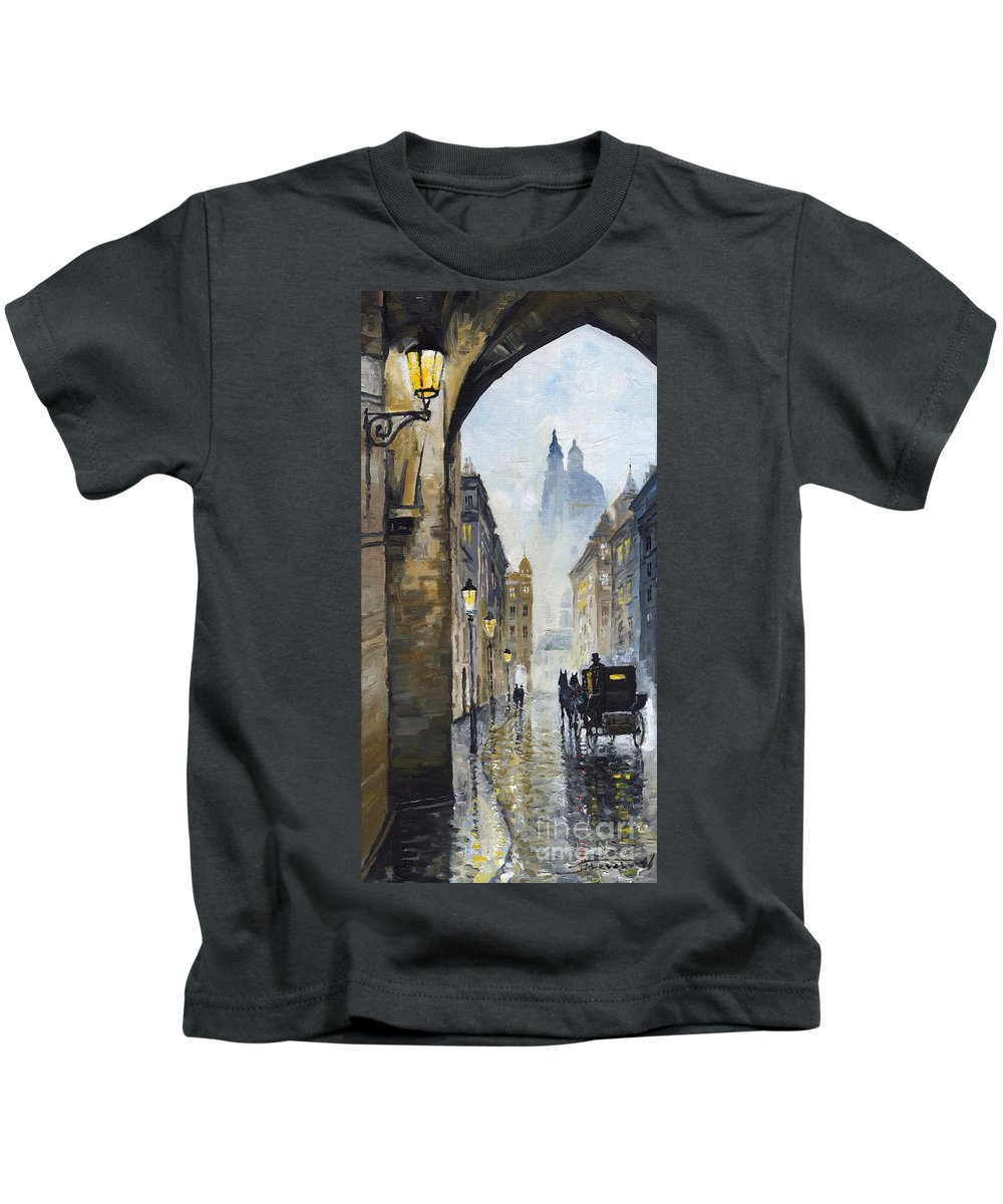 Prague Kids T-Shirt featuring the painting Prague Old Street 01 by Yuriy Shevchuk